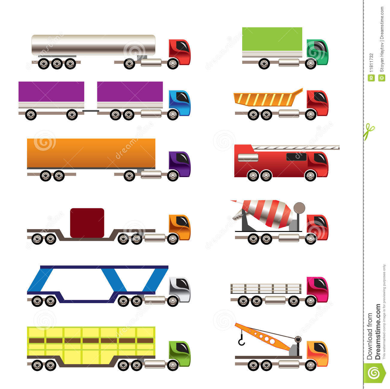 Different Types Of Trucks And Lorries Icons Stock ...