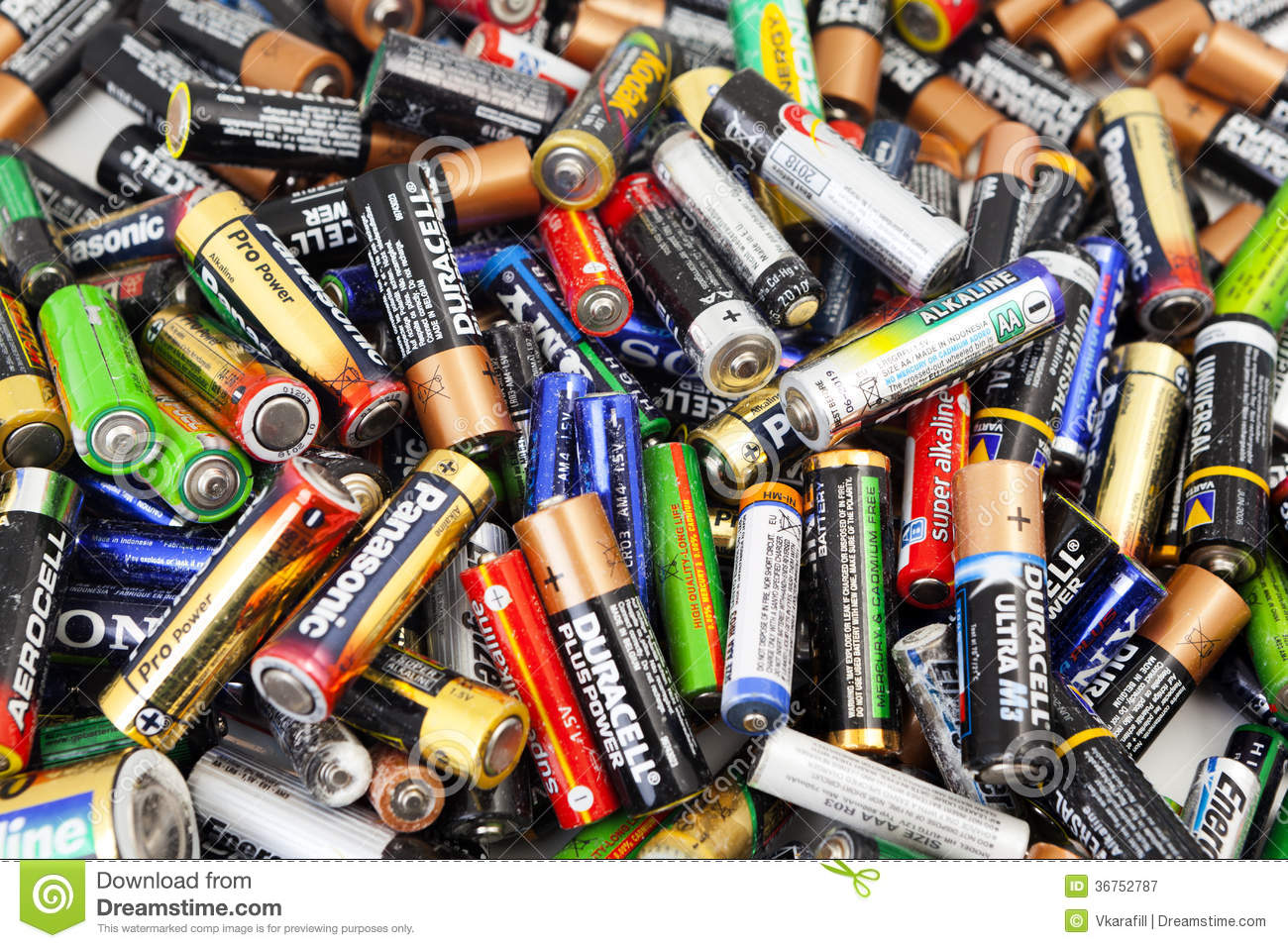 different types of used batteries ready for recycling editorial photography image 36752787. Black Bedroom Furniture Sets. Home Design Ideas
