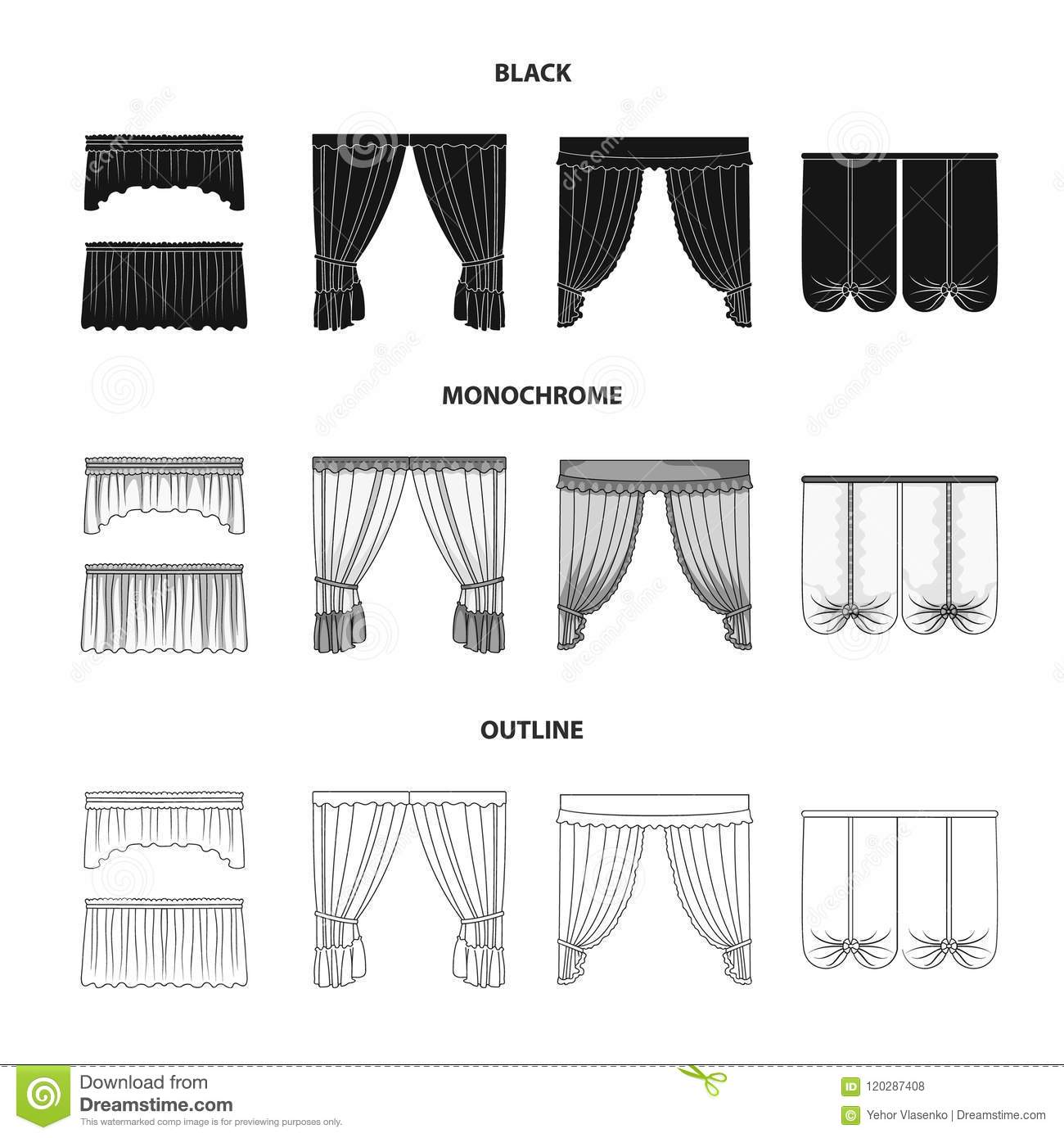 Different Types Of Window Curtains Curtains Set Collection Icons In Black Monochrome Outline Style Vector Symbol Stock Stock Vector Illustration Of Outline Logo 120287408
