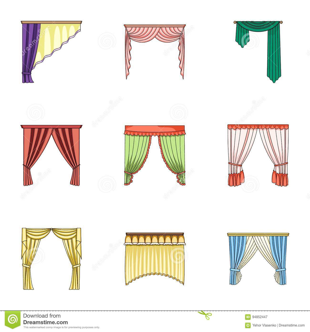 Different Types Of Window Curtainsrtains Set Collection Icons In