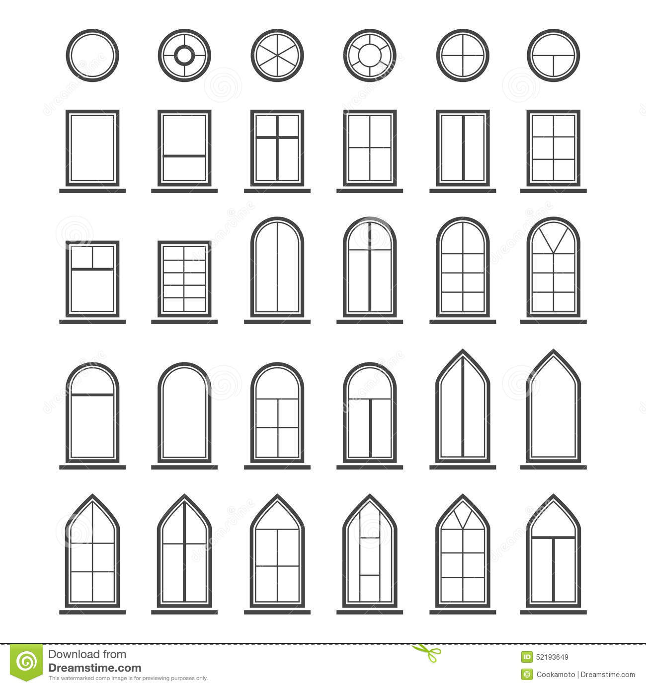 Types of residential windows - Different Types Of Windows Eps10 Royalty Free Stock Images