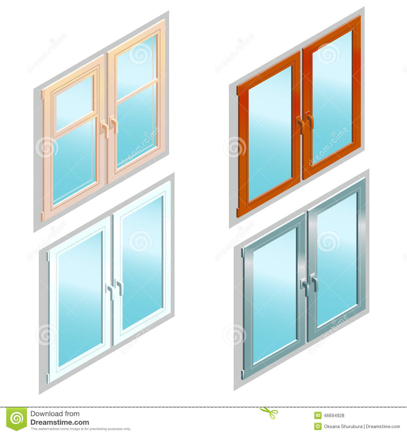 Different types of windows in isometric view stock vector for Different types of windows