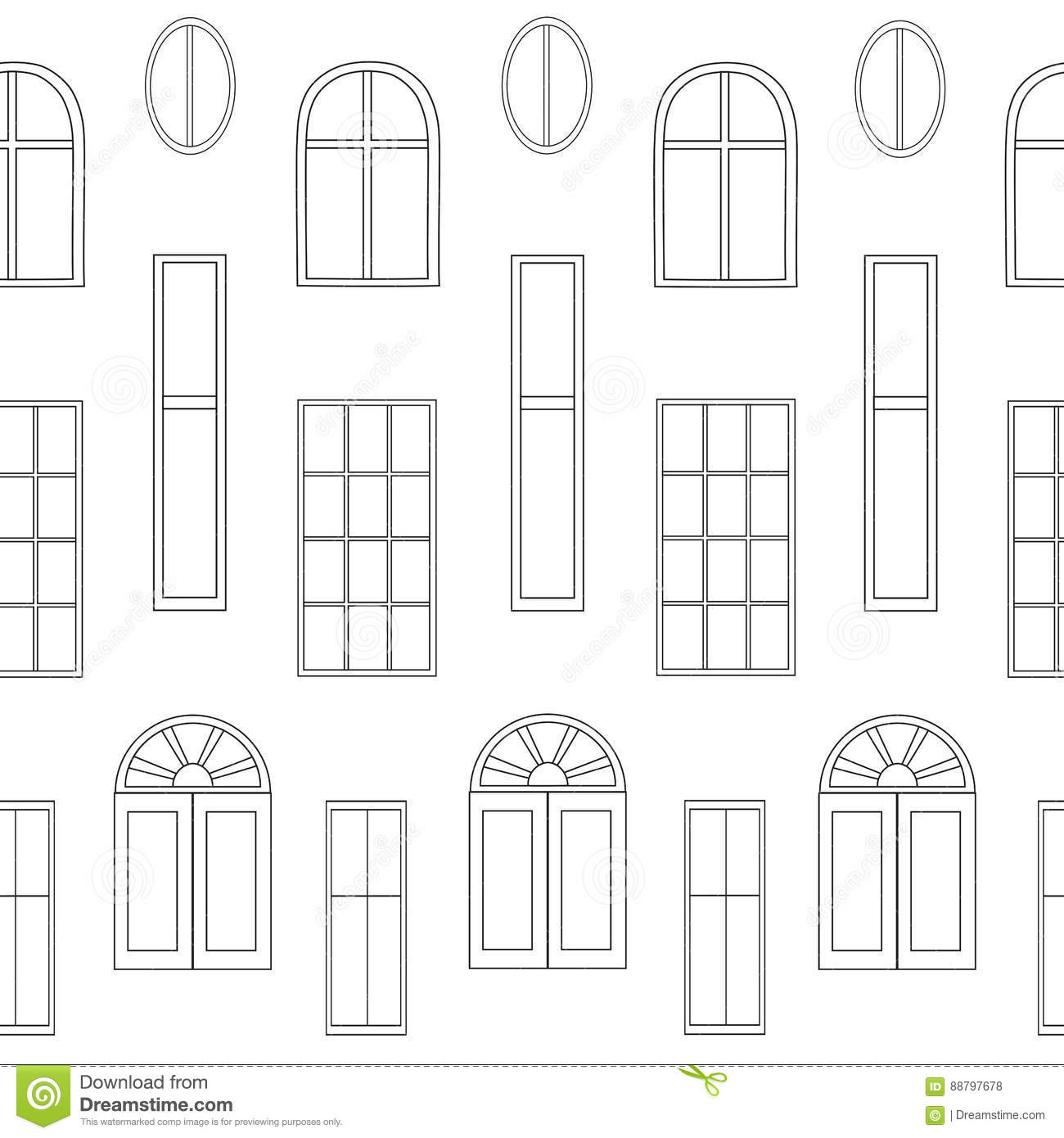different types of windows stock vector illustration of template 88797678. Black Bedroom Furniture Sets. Home Design Ideas