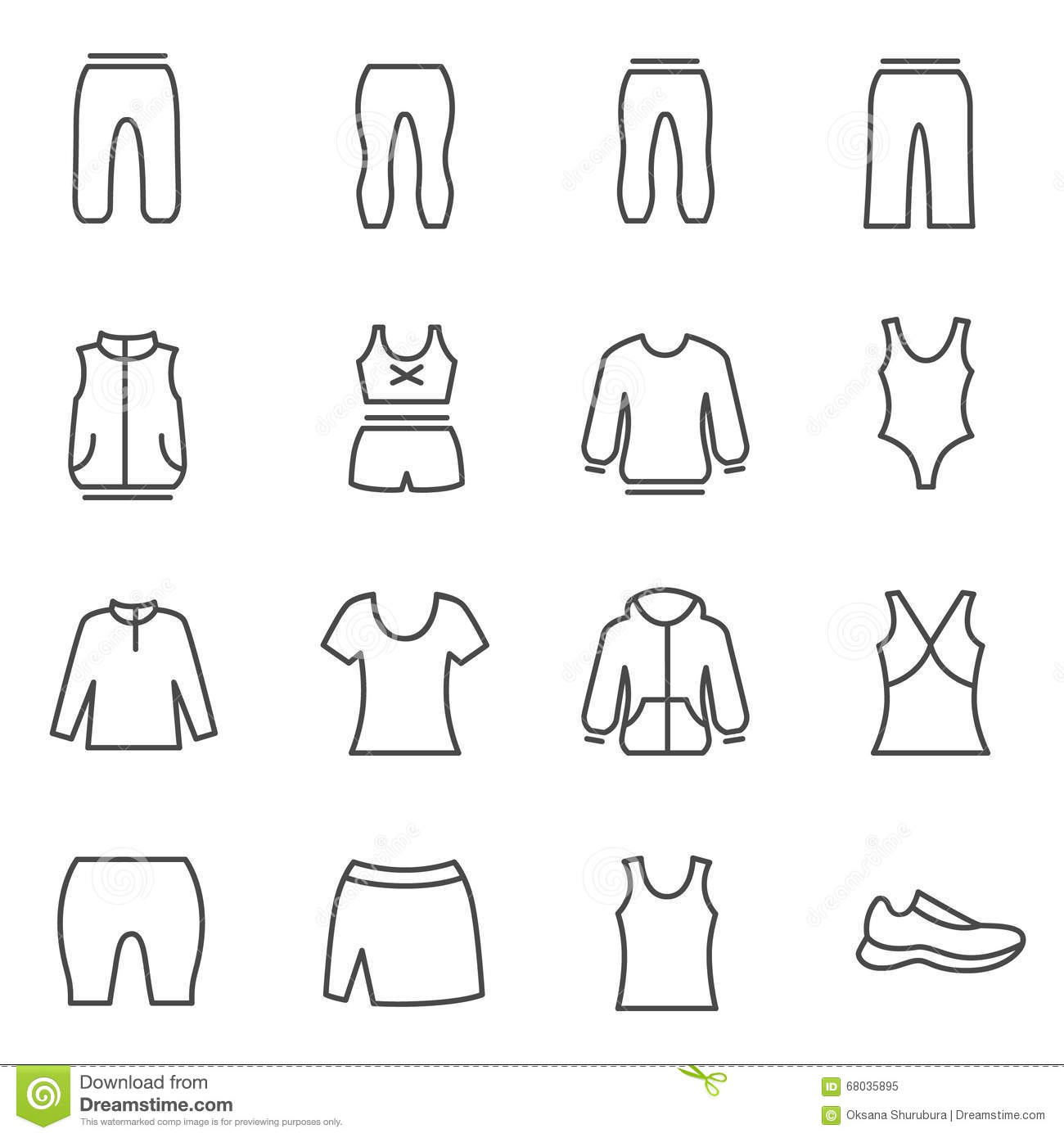 Different Types Of Woman S Sport Clothes Stock Vector Image 68035895