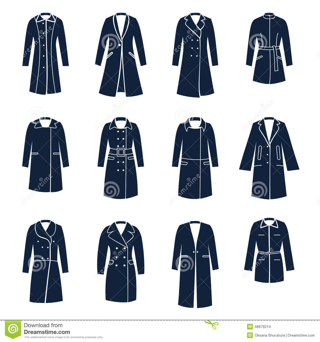 Different Types Of Women Coats Stock Vector