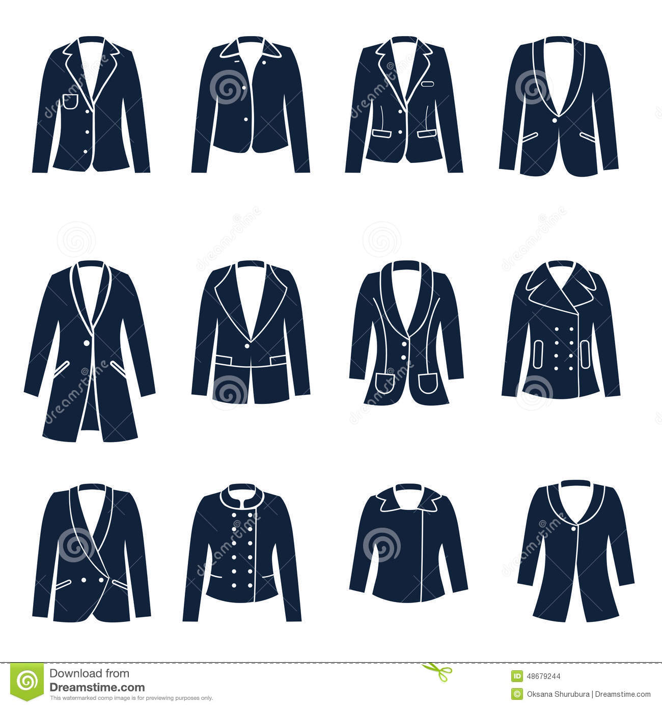 Different Types Of Women Jackets Stock Vector