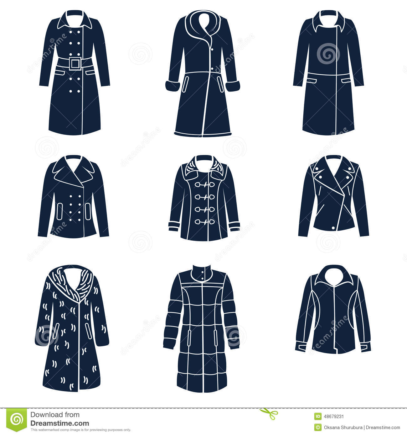 Different Types Of Women Winter Clothes Stock Vector - Image 48679231