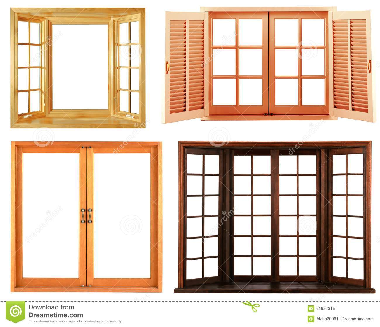 Wood Window Frames : Different types of wooden window frame isolated stock