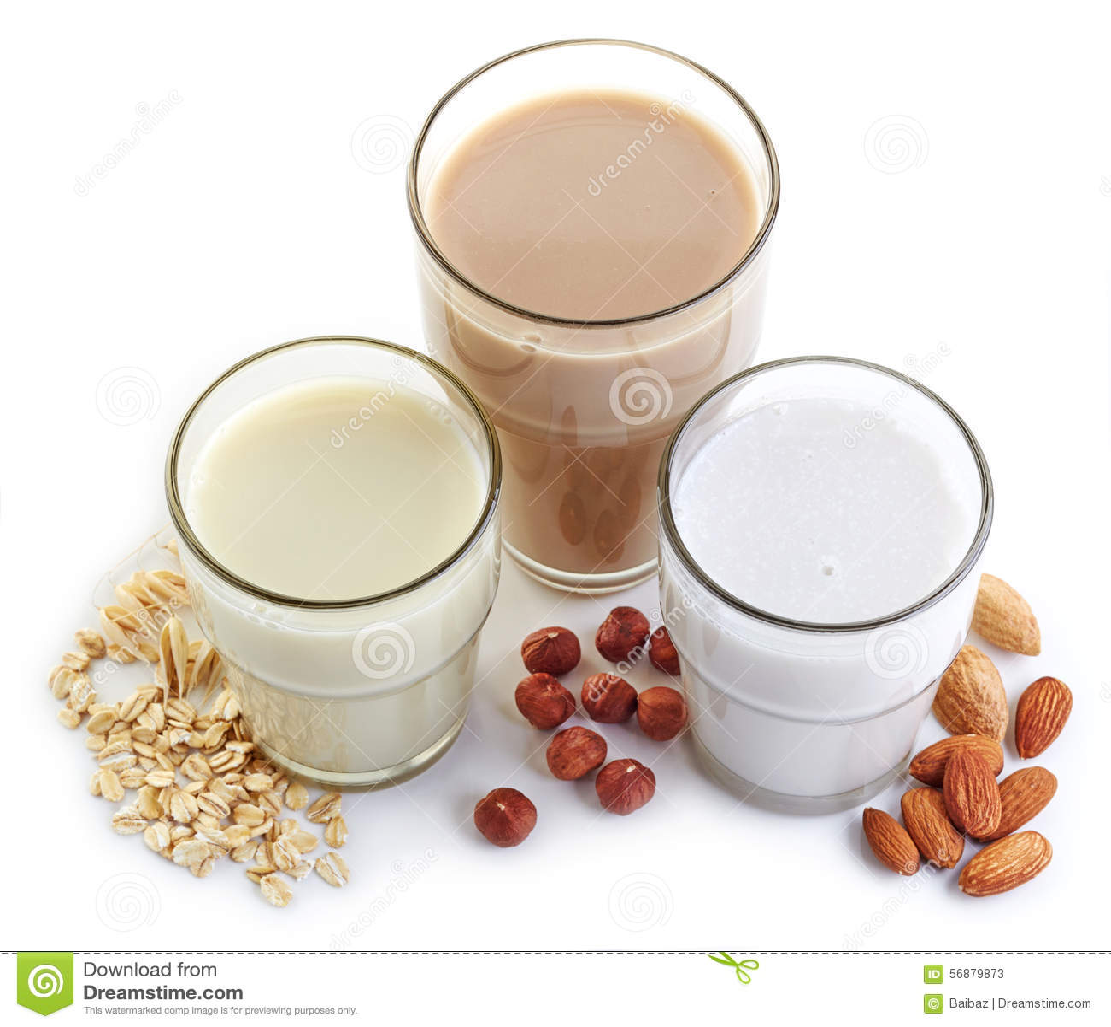 Different vegan milk: almond milk, hazelnut milk and oat milk.
