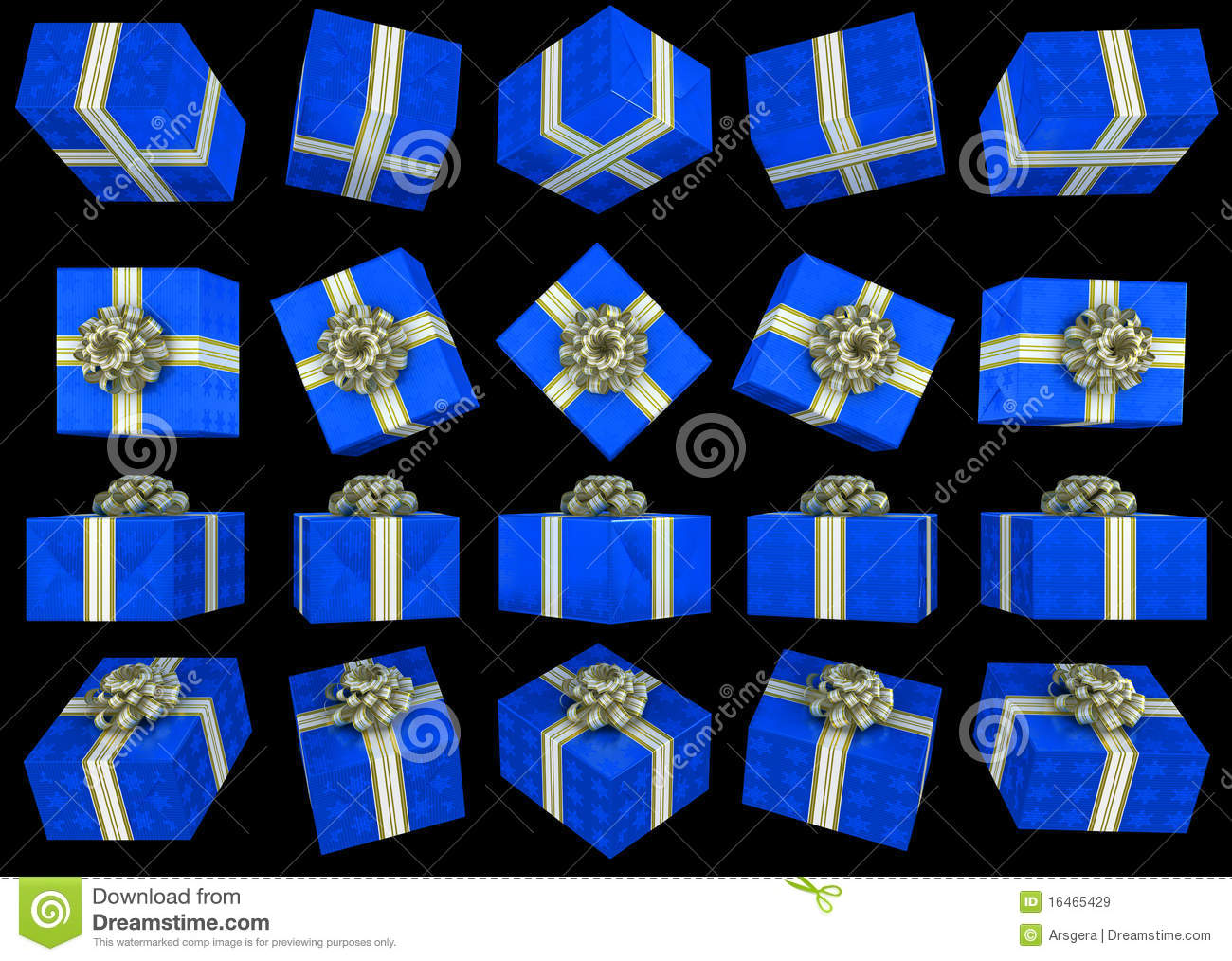 Different Views Of Blue Gift Box Royalty Free Stock Images ...