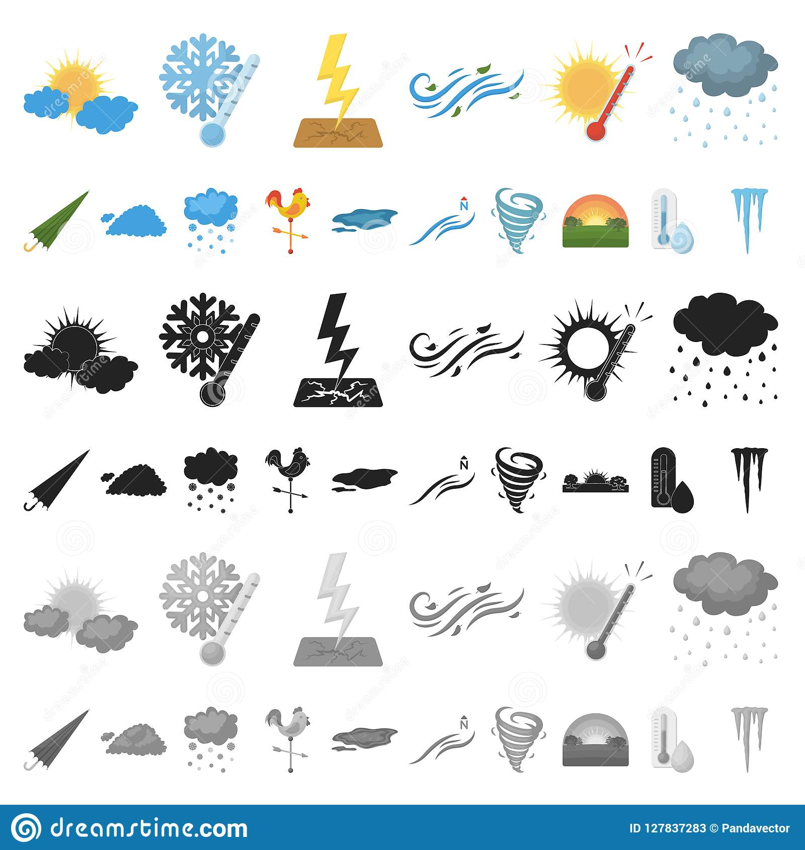 different weather cartoon icons in set collection for design signs