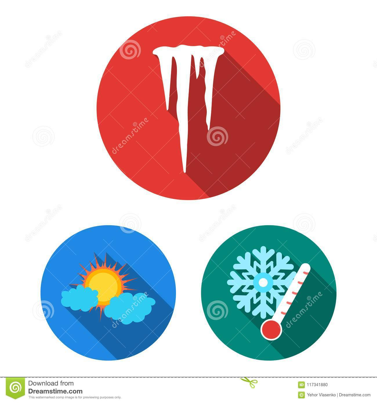 different weather flat icons in set collection for design signs and