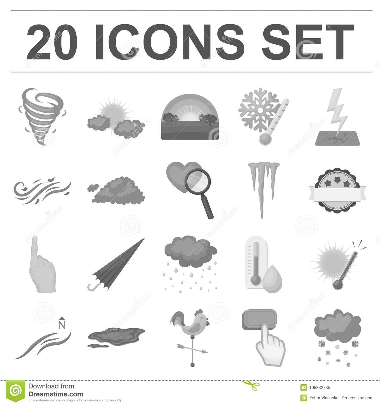 different weather monochrome icons in set collection for design