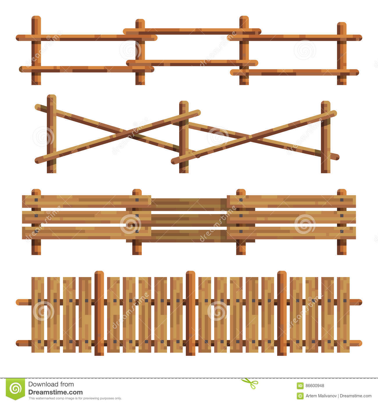 Different Wooden Fences Vector Illustration Stock Vector