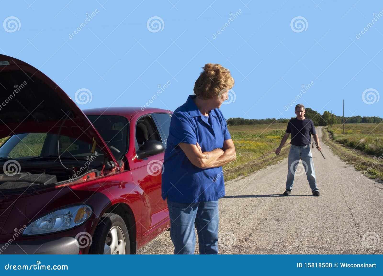 Difficoltà maggiore matura dell automobile della donna, sicurezza dell uomo del pericolo