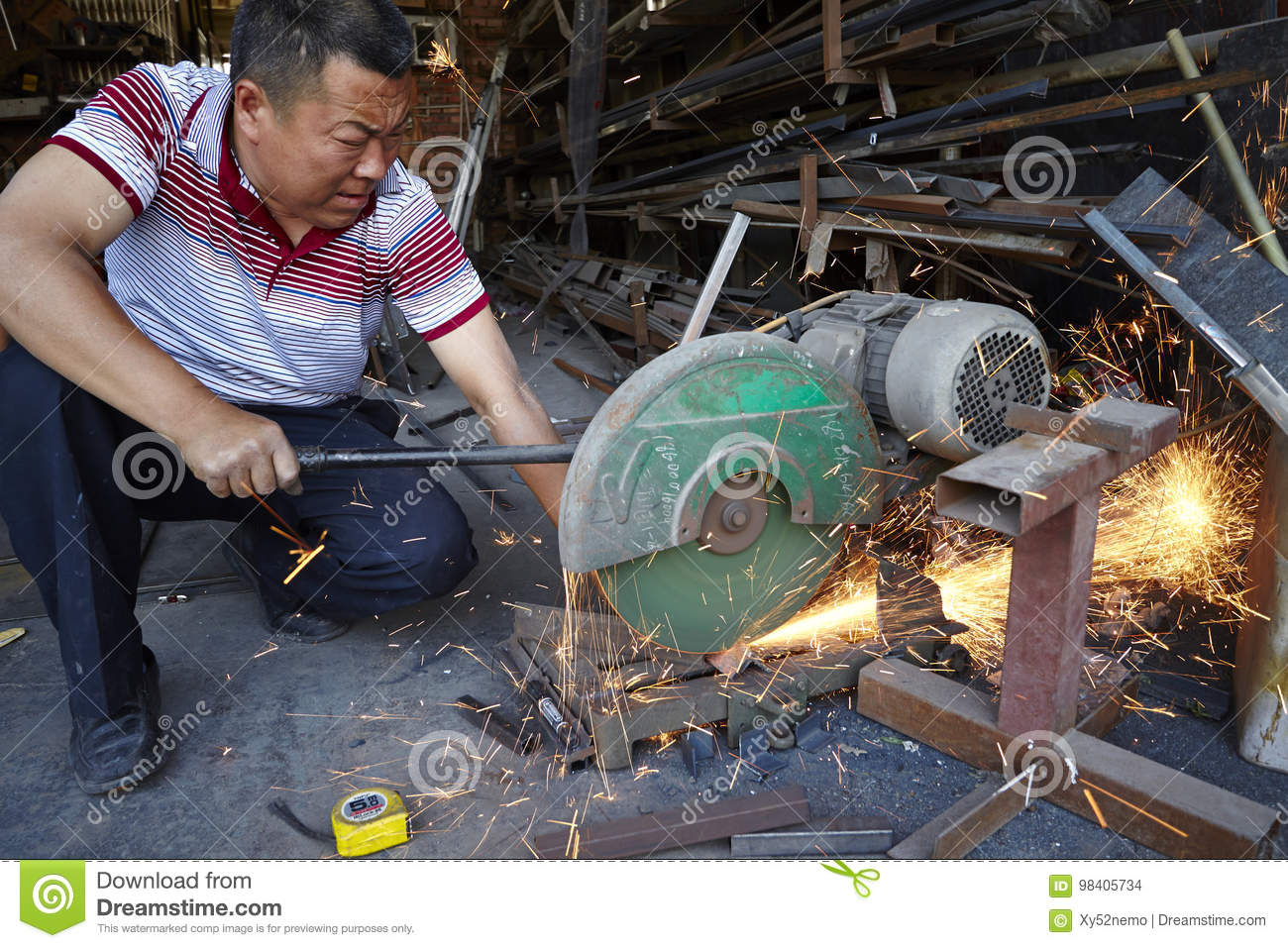 Difficult working place, steel operating workshop