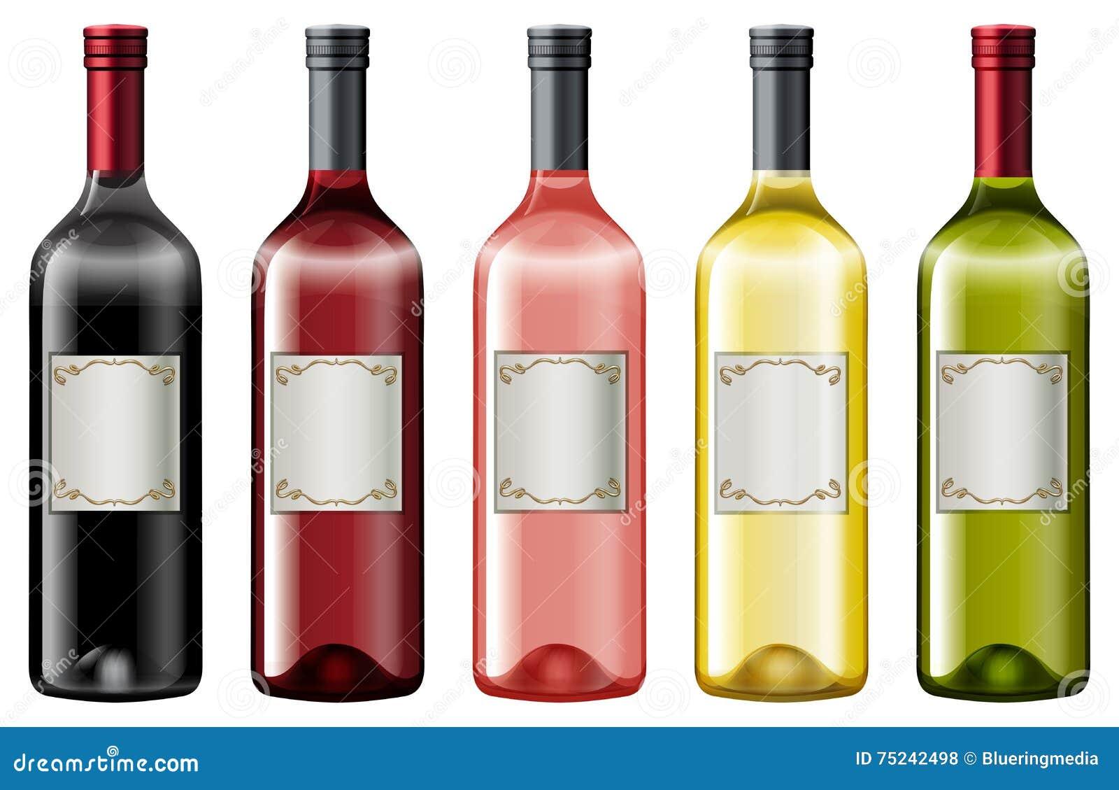 diff rentes couleurs des bouteilles de vin illustration de vecteur image 75242498. Black Bedroom Furniture Sets. Home Design Ideas