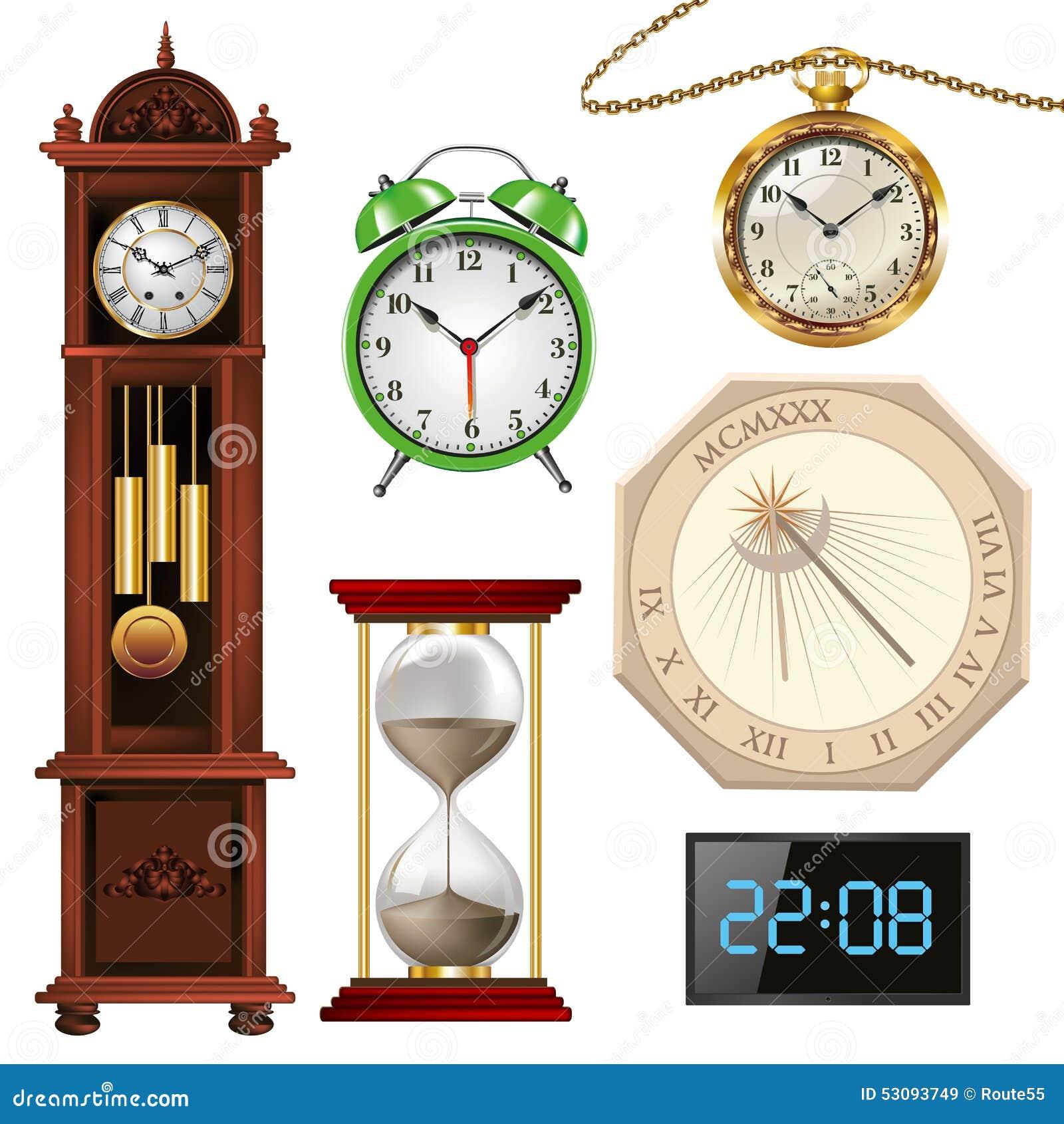 diff rents types d 39 horloges illustration de vecteur. Black Bedroom Furniture Sets. Home Design Ideas