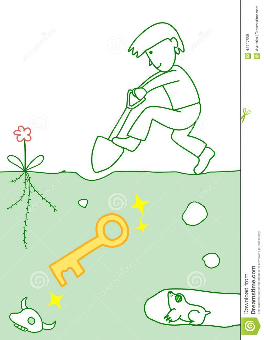 Dig up the key stock vector image 44727859 for Digging ground dream meaning
