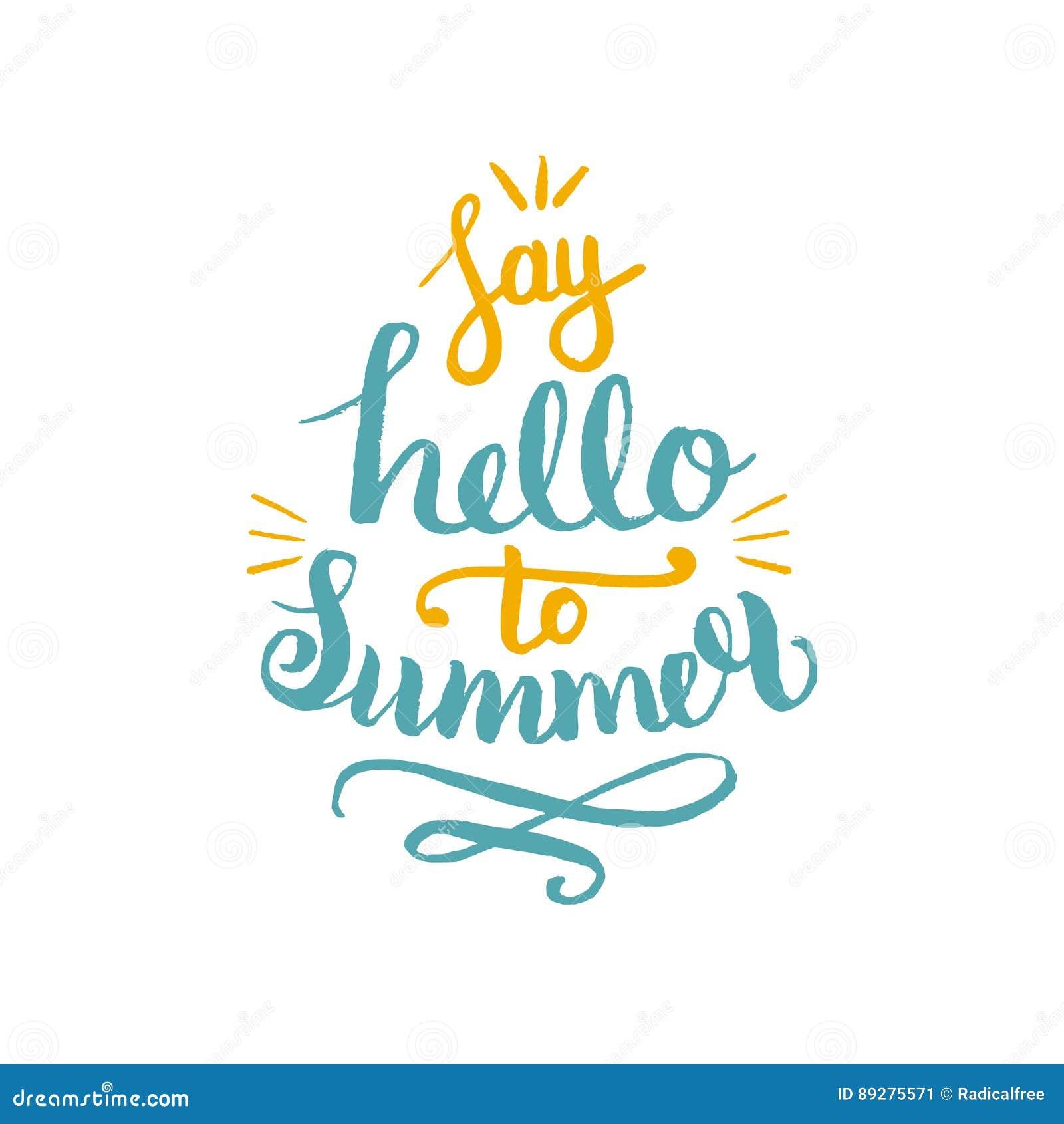 Diga hola al ejemplo del vector del verano, fondo Logotipo del diseño del inconformista de la cita de la diversión Mano que pone