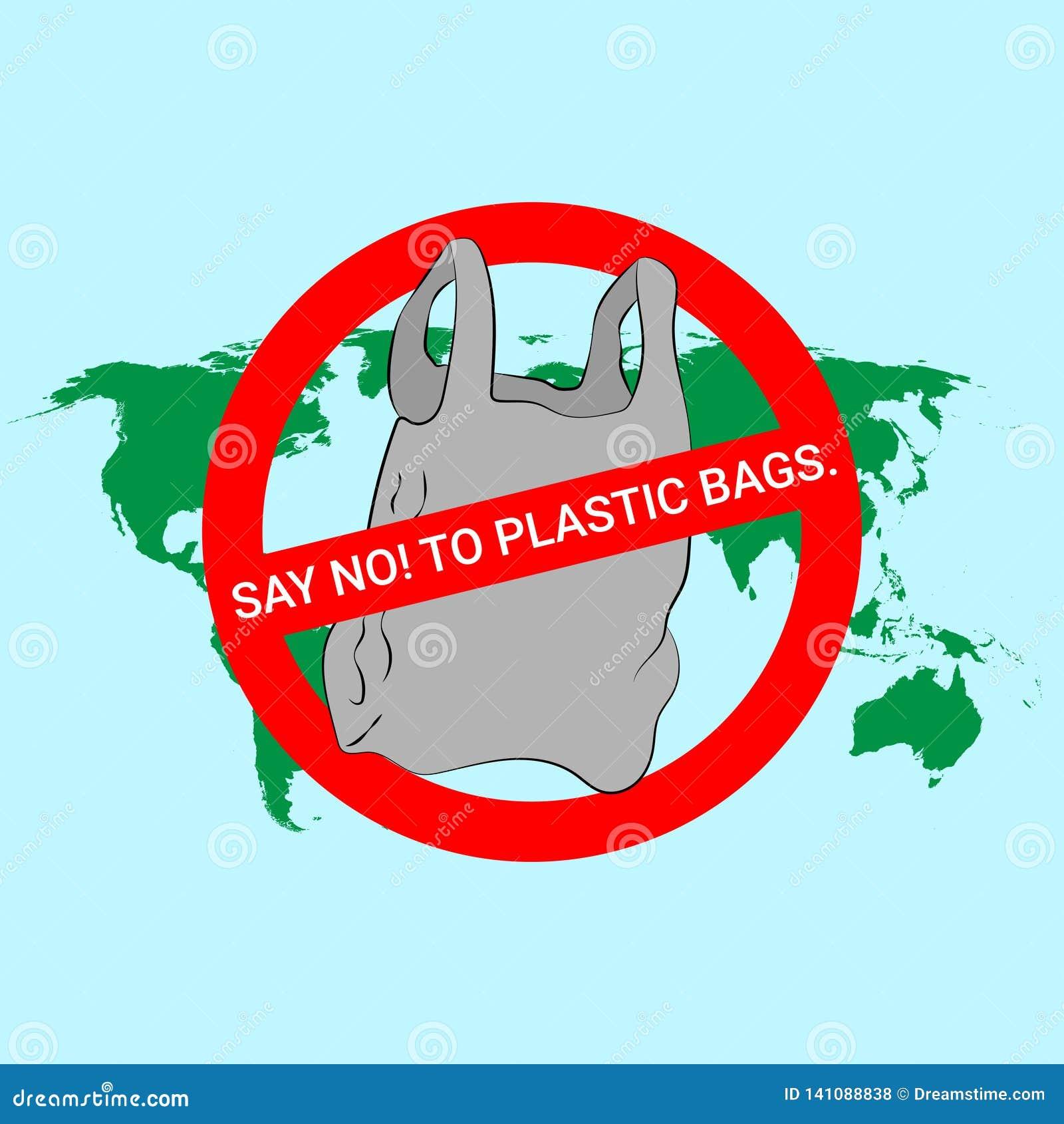 Diga não ao cartaz dos sacos de plástico