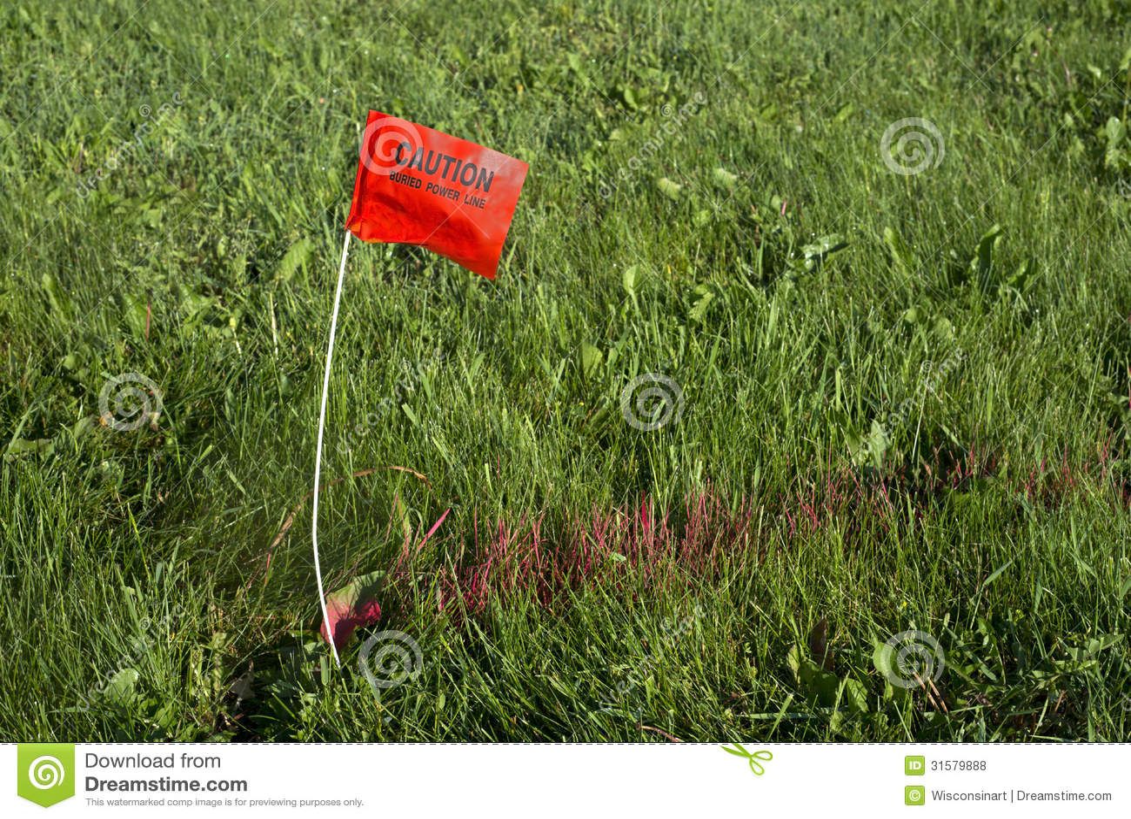 Digger Hotline Flag Buried Electrical Power Line Royalty