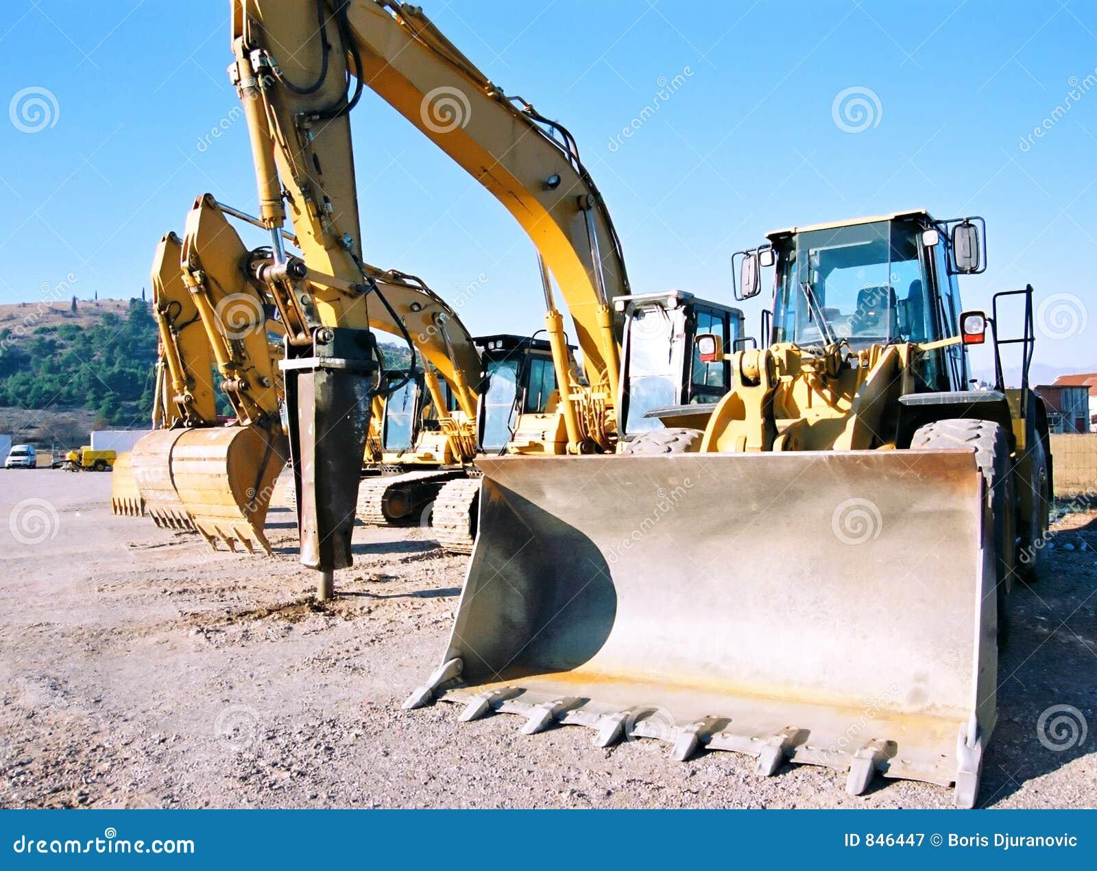 Diggers at parking