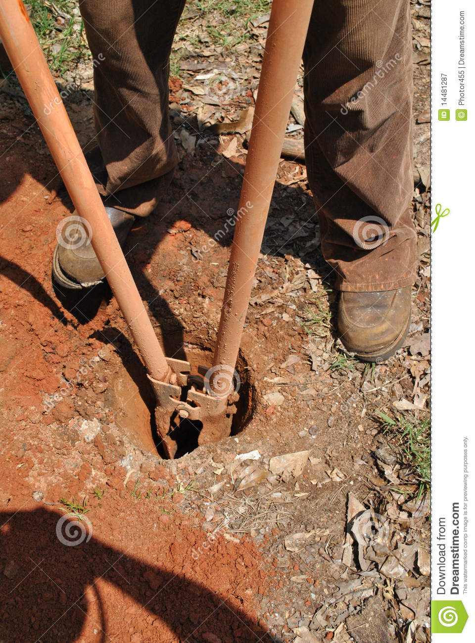 Digging post holes royalty free stock photography image for Digging ground dream meaning