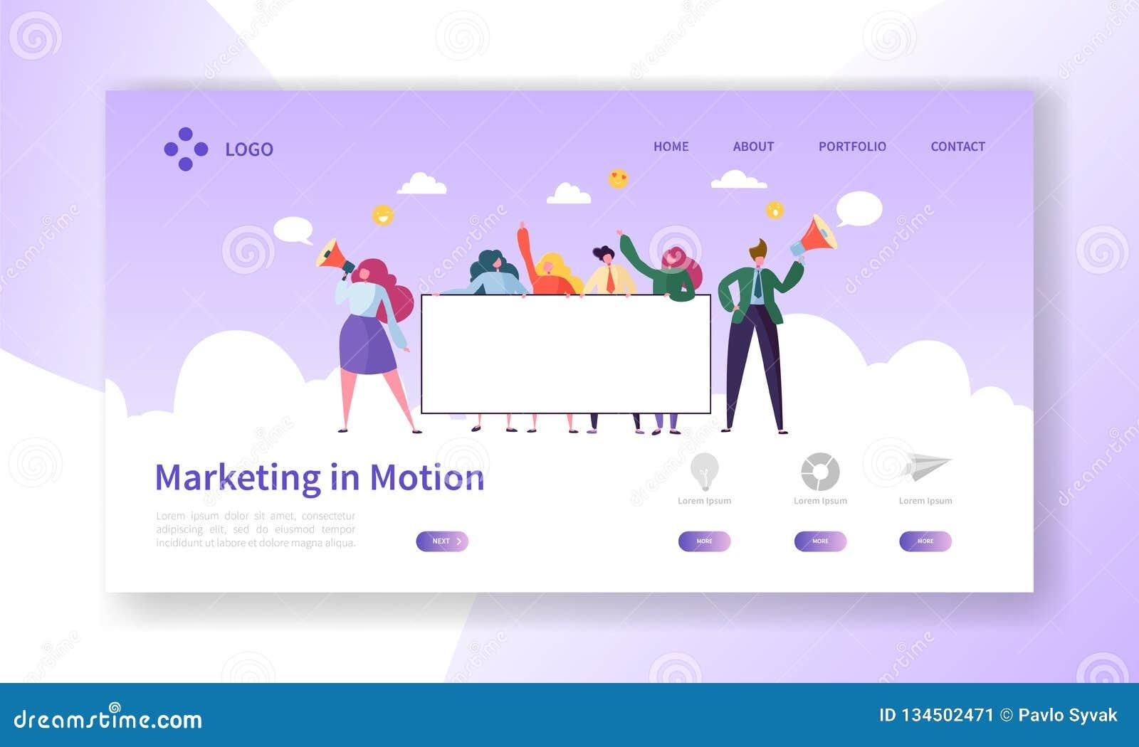 Digitaal Adverterend Team Holding Blank Banner Marketing het Ontwerp van het Groepswerkkarakter voor Landingspagina