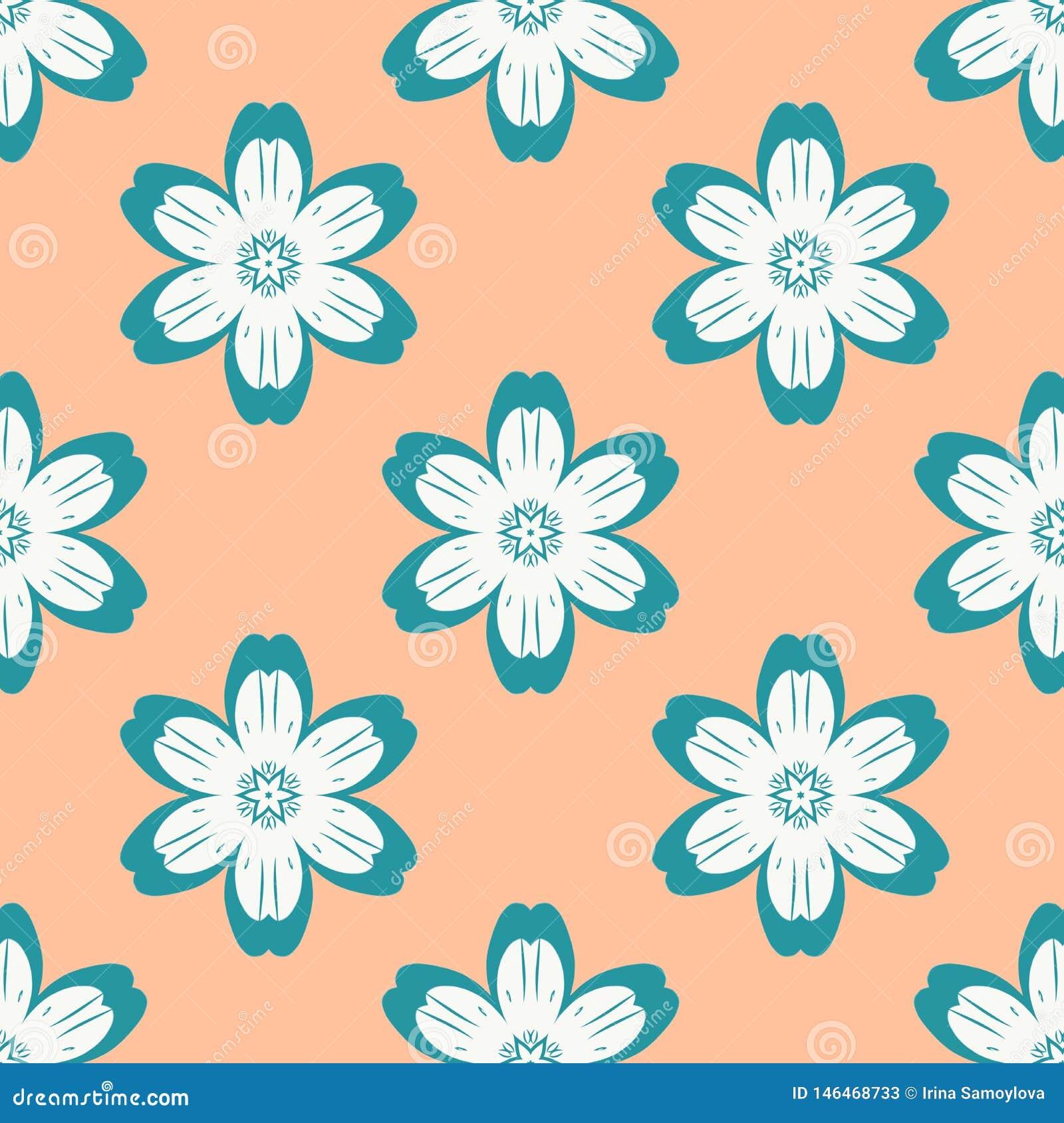 Digitaal blauw bloemen eenvoudig naadloos patroon op sinaasappel