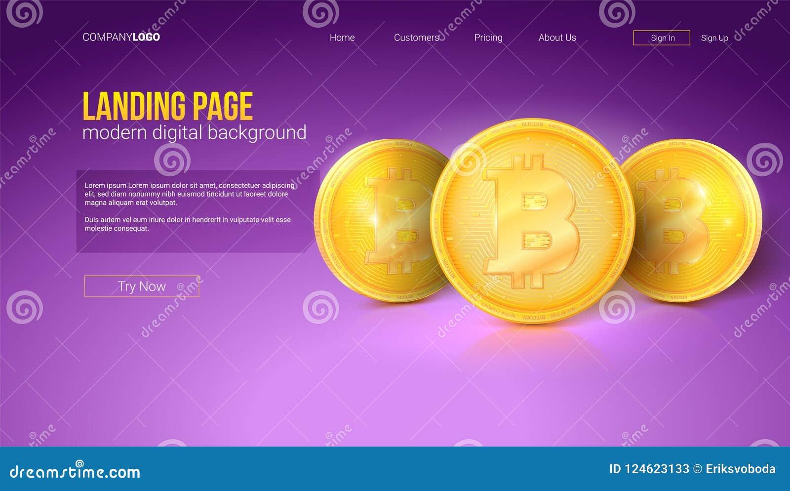 Digitaal concept landende pagina van website Gouden bitcoinmuntstukken, vectorinterface Malplaatje met moderne gradiënt en