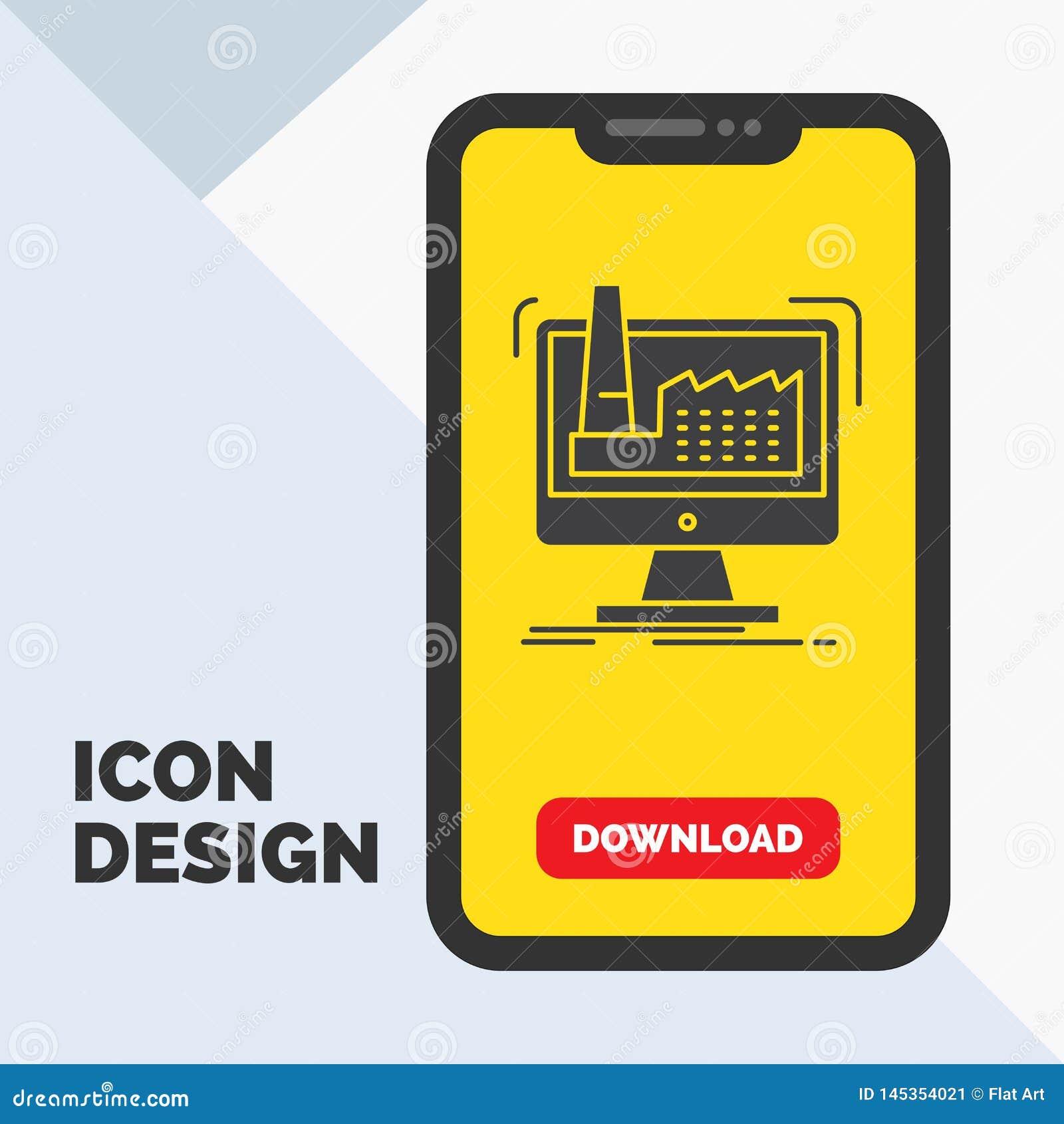 Digitaal, fabriek, productie, productie, het Pictogram van productglyph in Mobiel voor Downloadpagina Gele achtergrond
