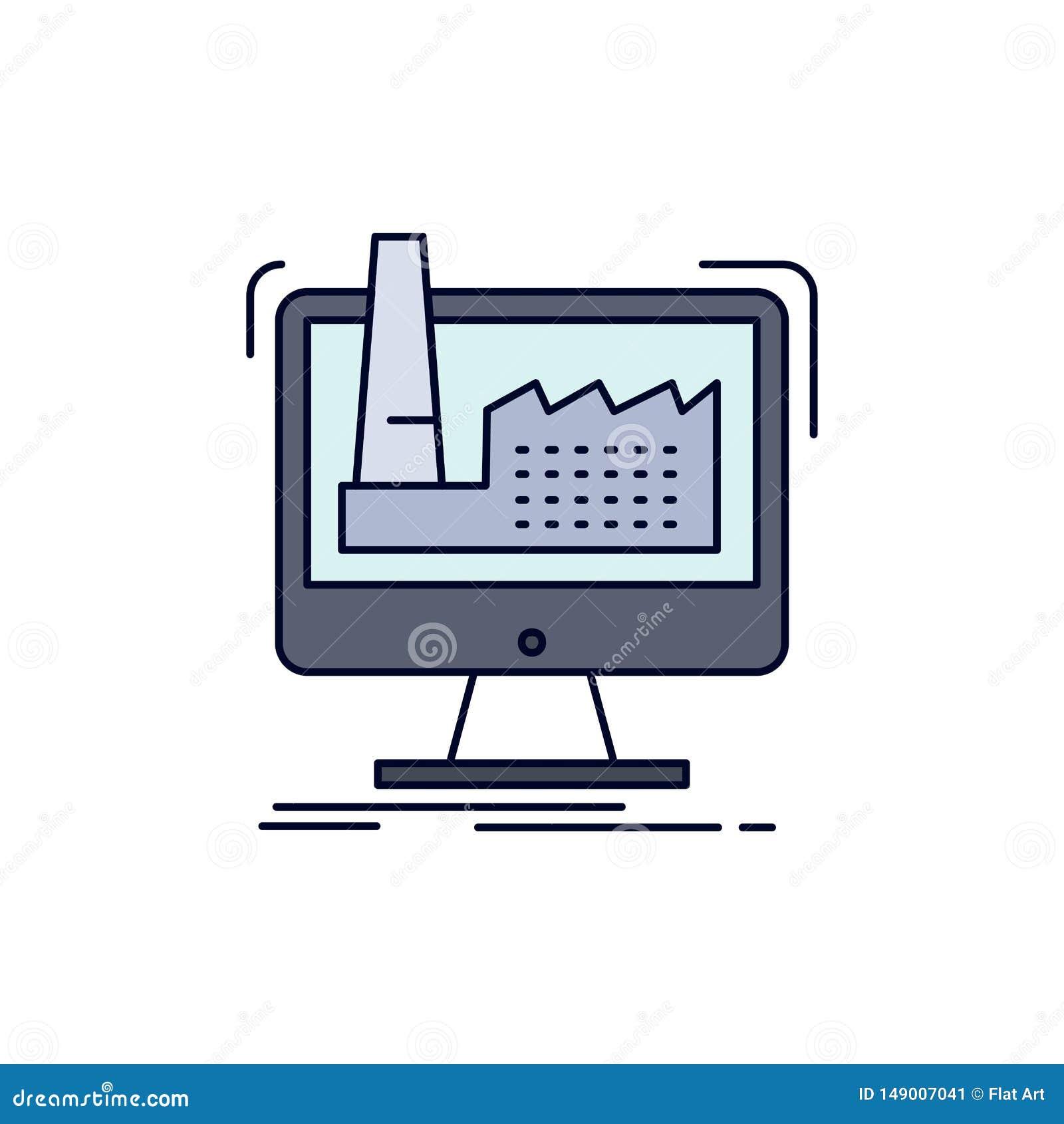 Digitaal, fabriek, productie, productie, het Pictogramvector van de product Vlakke Kleur