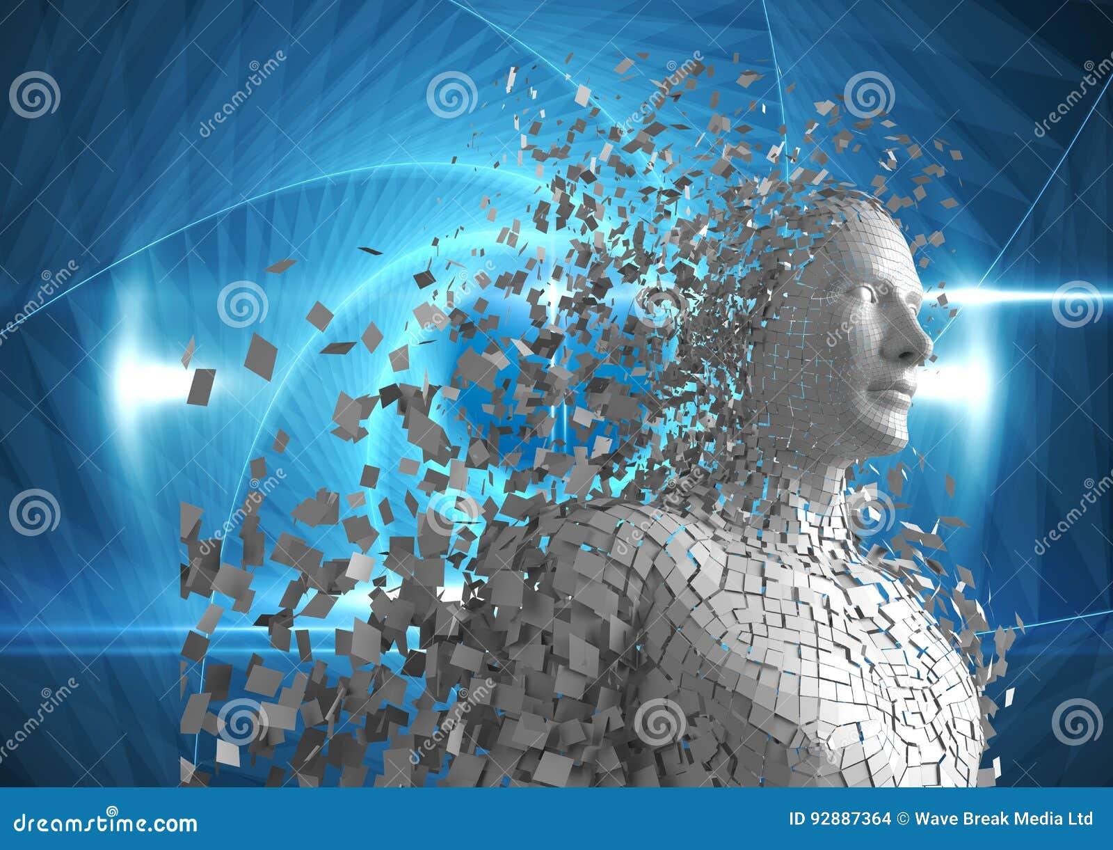 Digitaal geproduceerd beeld van 3d mens over blauwe achtergrond
