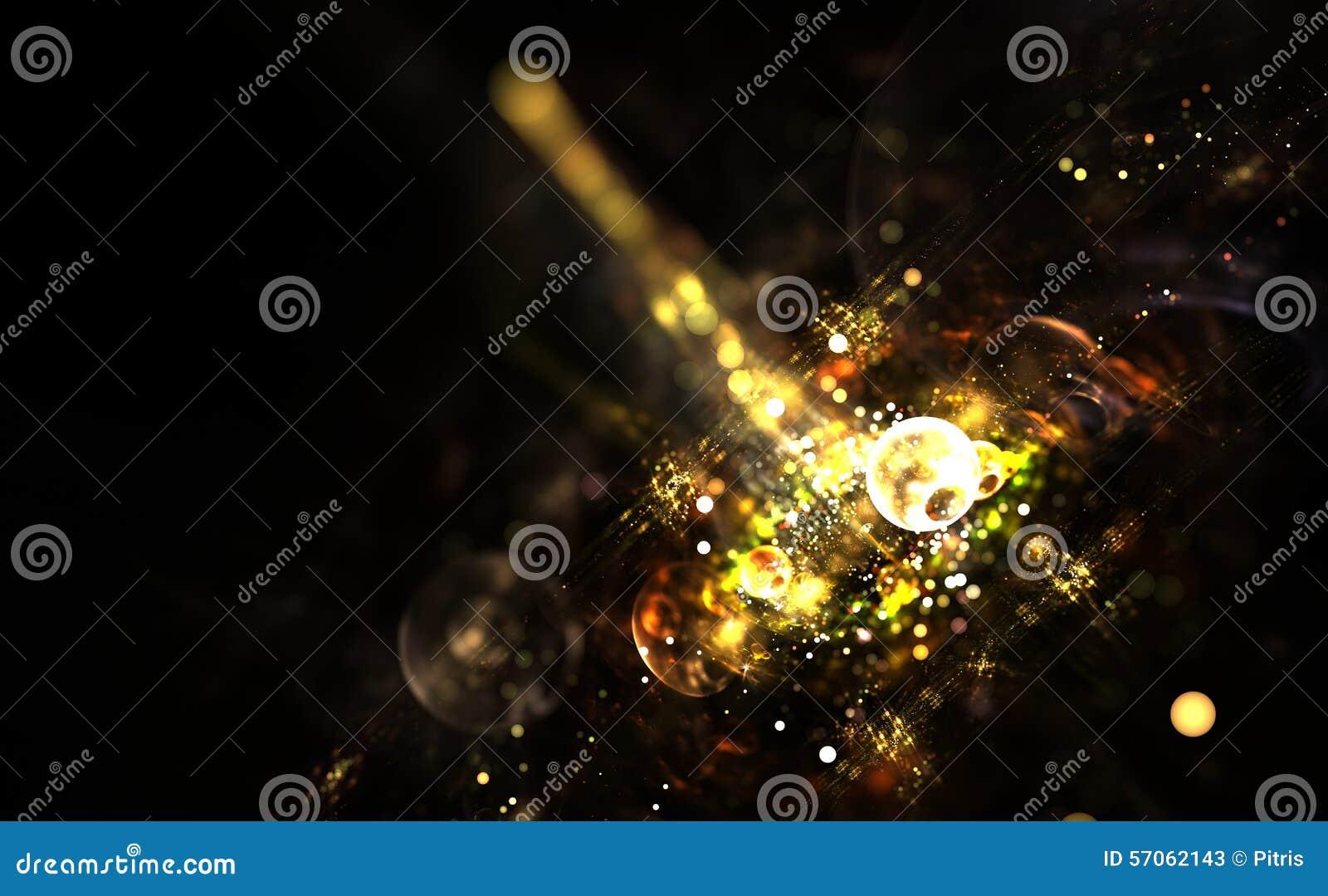 Digitaal geproduceerd beeld van kleurrijke lichte en abstracte vormen