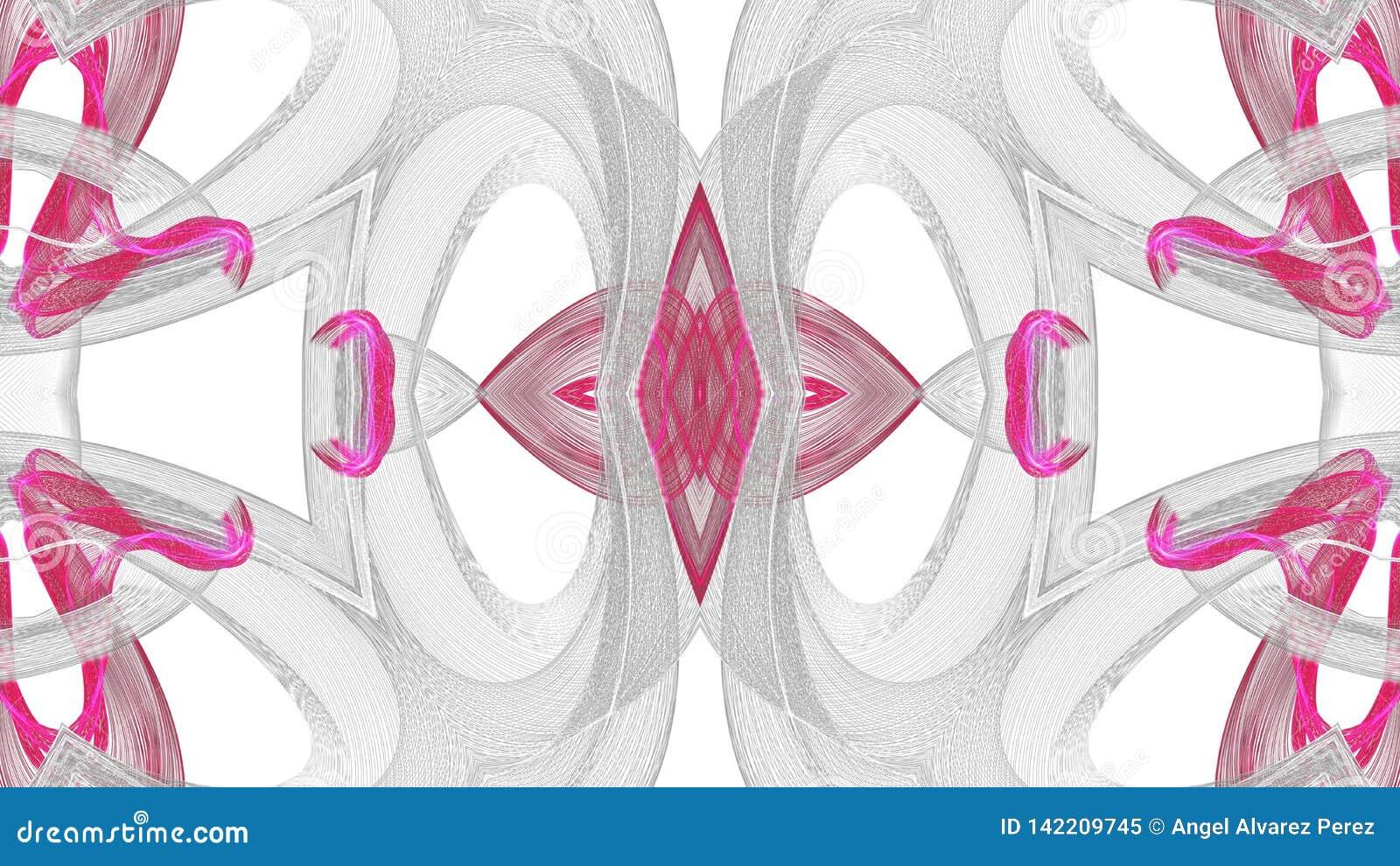 Digitaal kunst abstract grijs en rood ontwerp op witte achtergrond