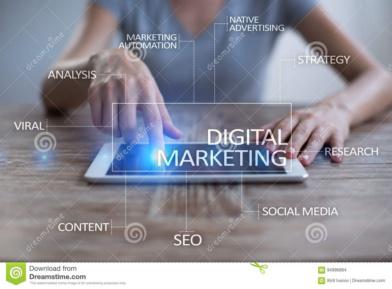 Digitaal marketing technologieconcept Internet Online SEO SMM reclame