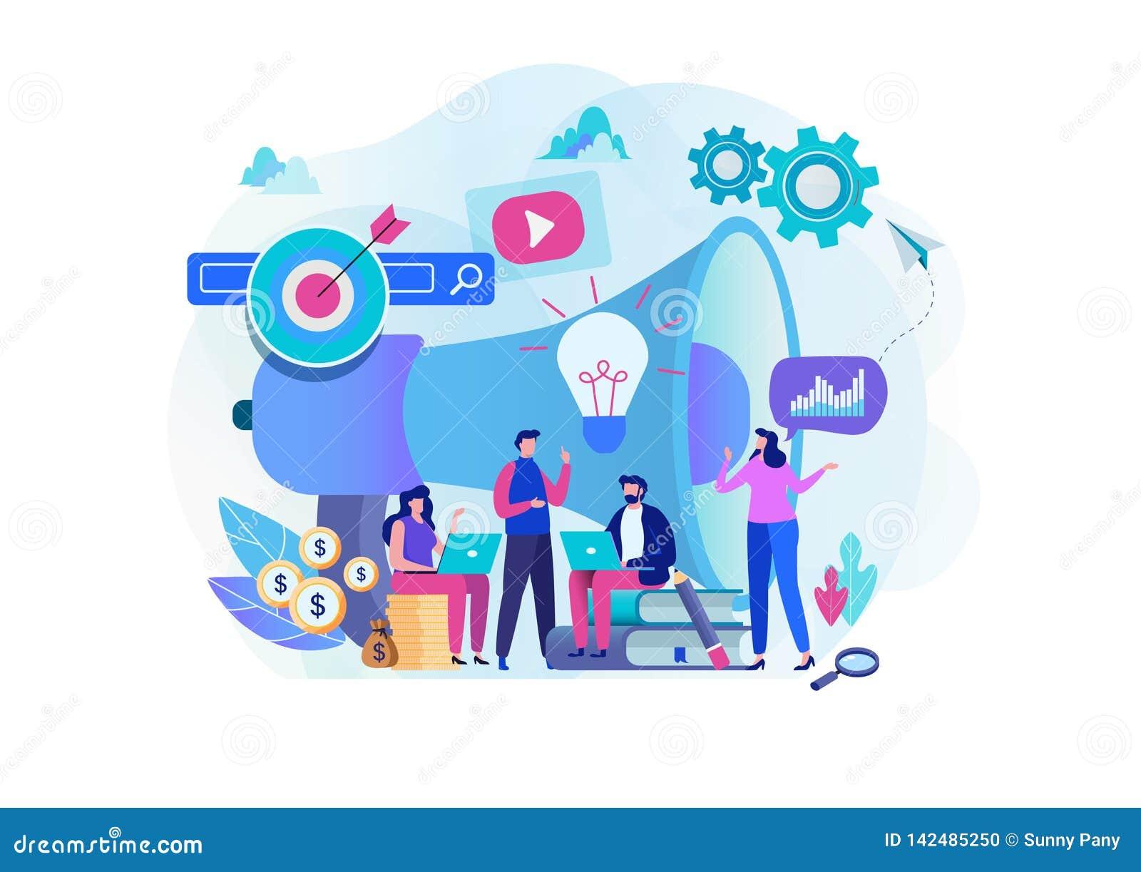 Digitaal op de markt brengend strategieteam Tevreden Manager Het vlakke grafische ontwerp van het beeldverhaalkarakter