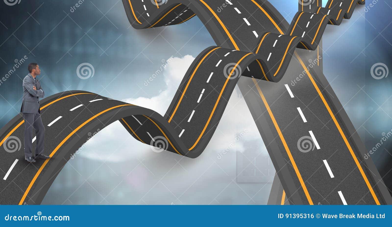 Digitaal samengesteld beeld die van zakenman zich op golvende weg bevinden
