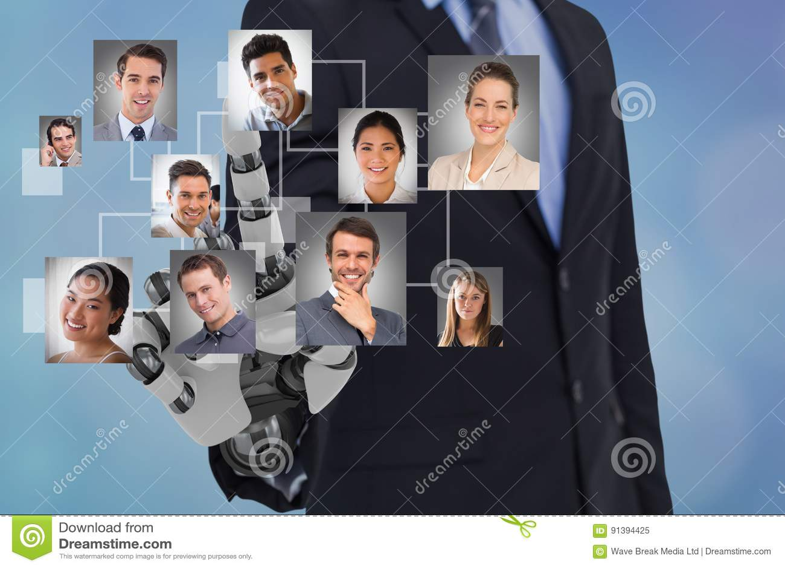 Digitaal samengesteld beeld van de robothand die van u ` s kandidaten selecteren