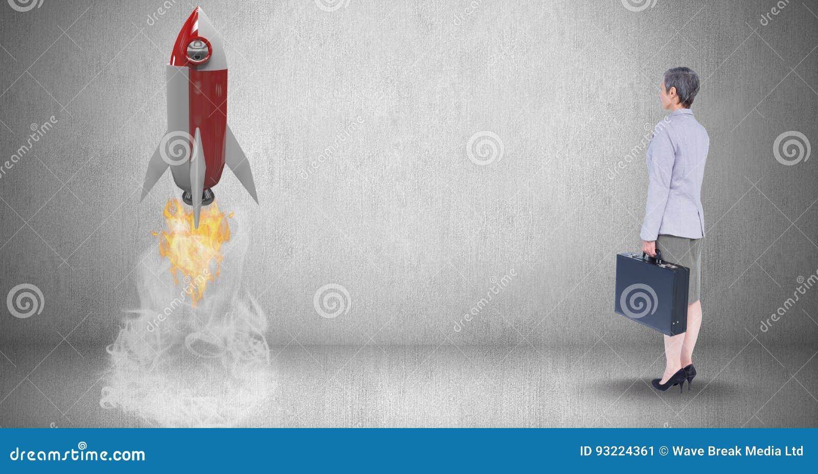 Digitaal samengesteld beeld van onderneemsterholding aktentas en het bekijken raketlancering die gereed staan
