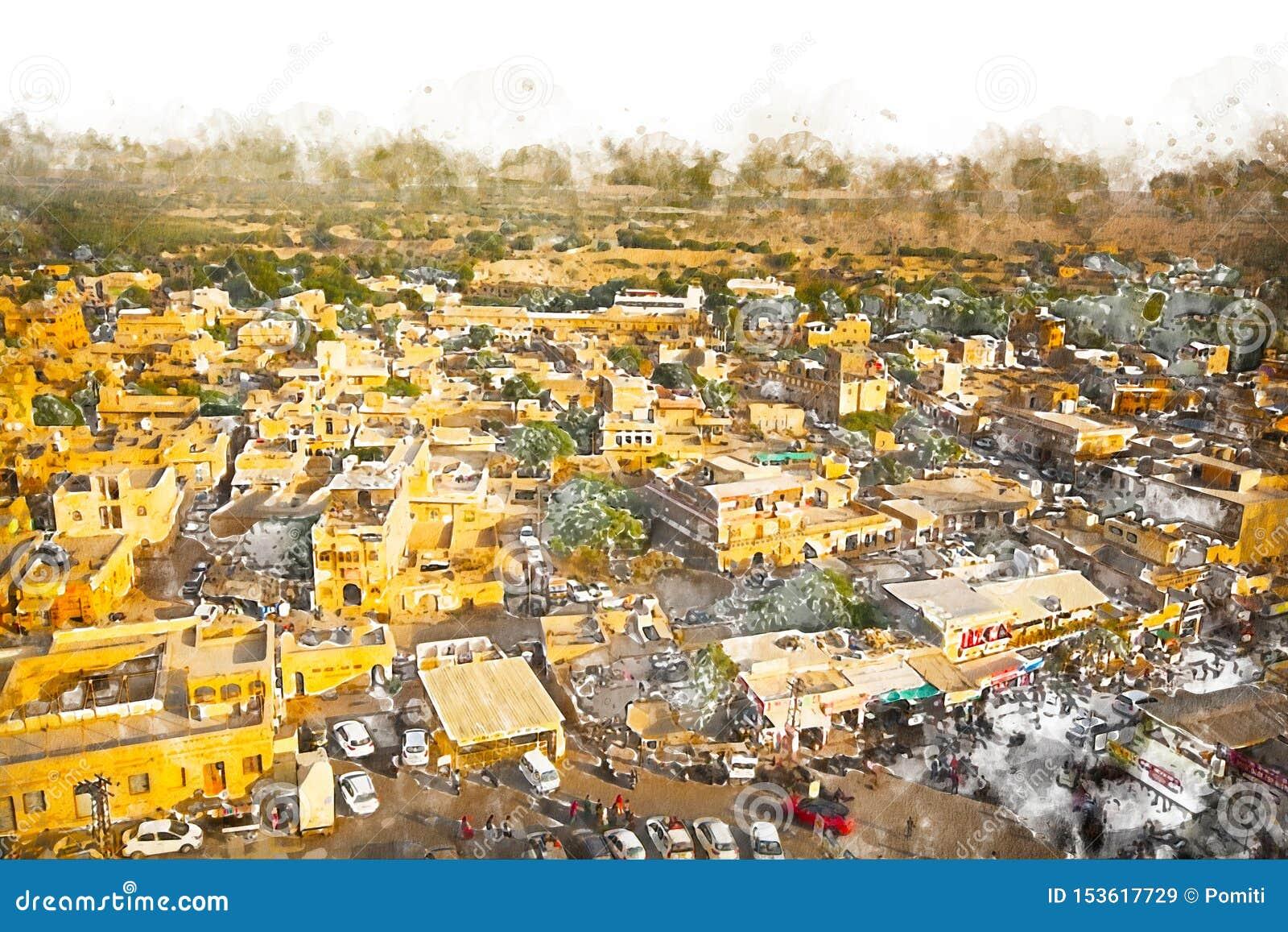 Digitaal schilderij van gouden stad, illustratie van historisch gebouw voor achtergrond Jaisalmer City in Rajasthan, India