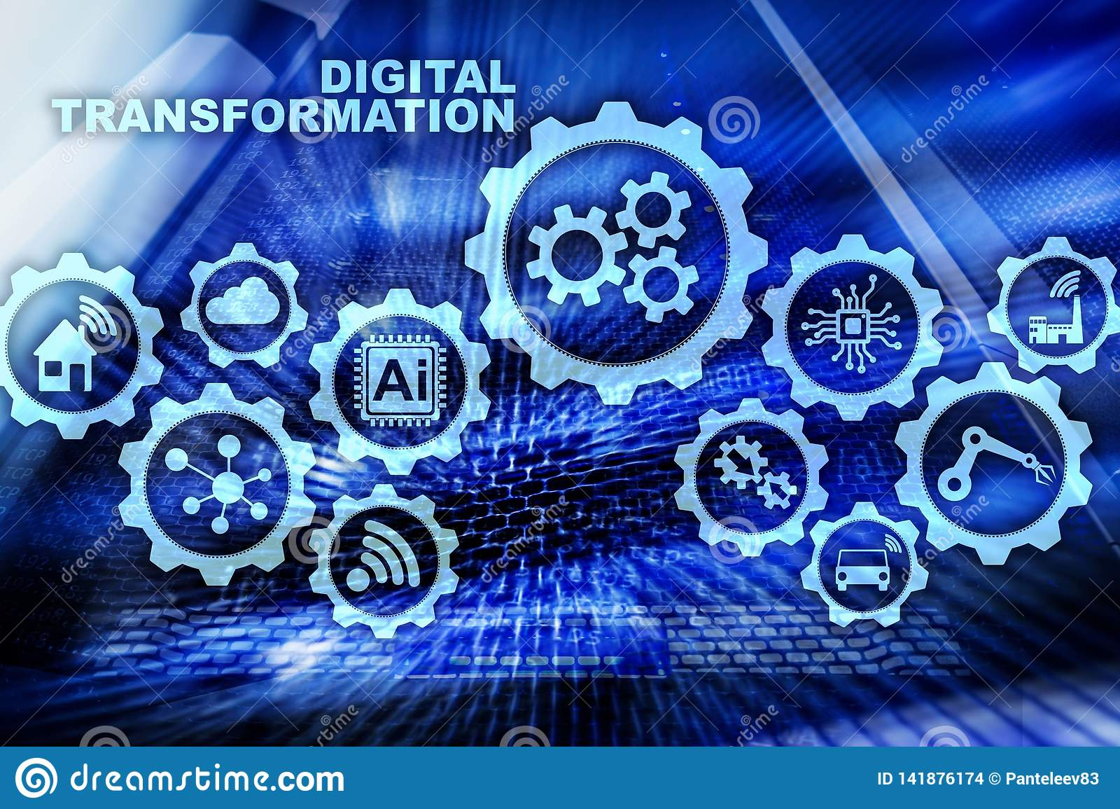 Digitaal Transformatieconcept digitalisering van technologie bedrijfsprocessen Datacenterachtergrond