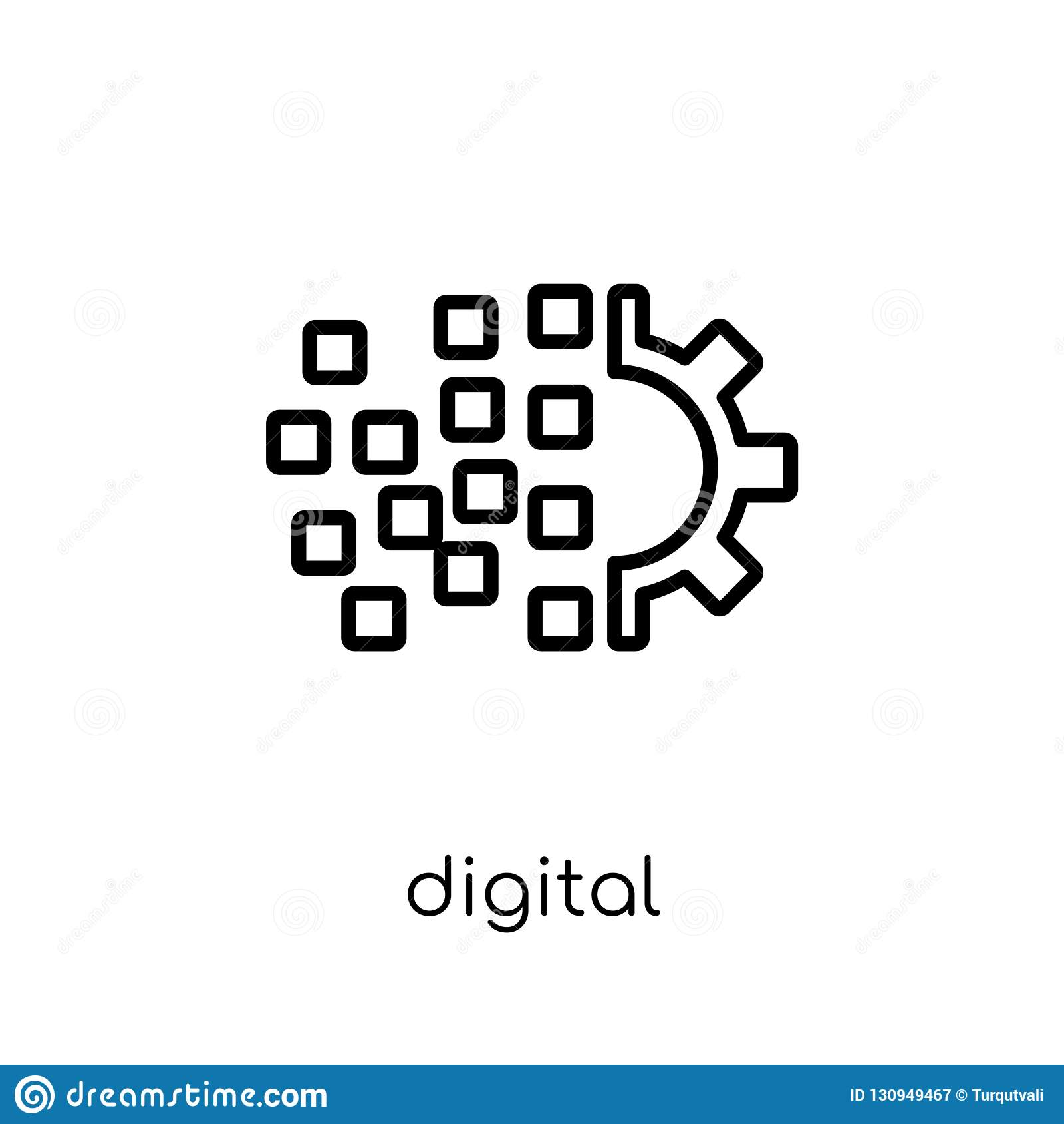 Digitaal transformatiepictogram In modern vlak lineair vectordi