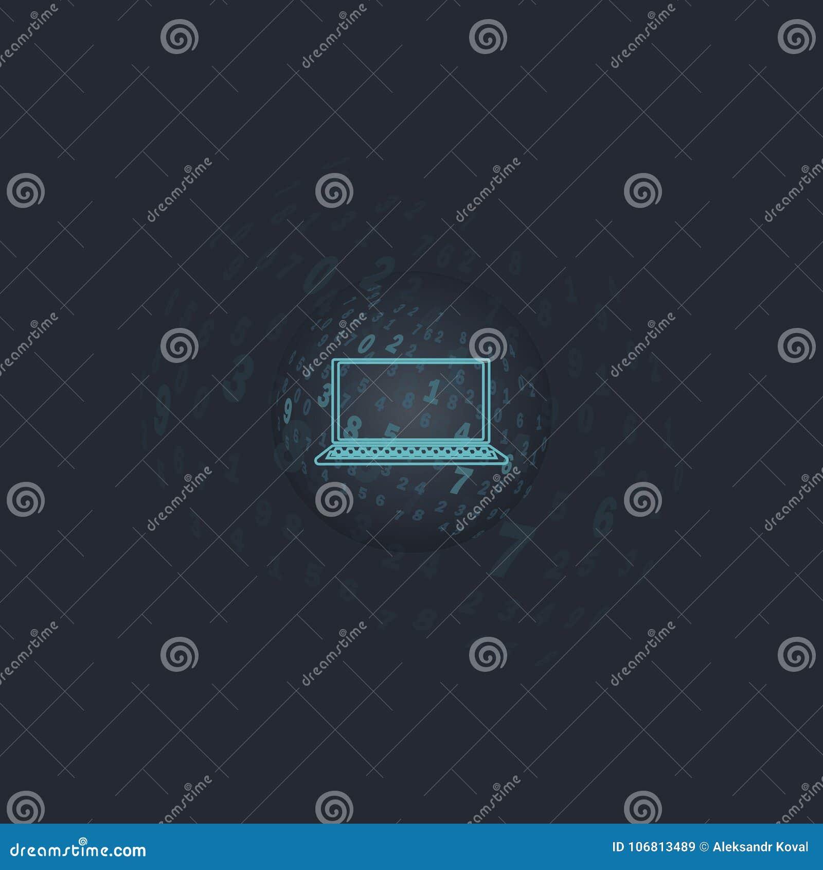 Digitaal transparant gebied Een bal met aantallen op een donkere achtergrond met gecentreerd laptop