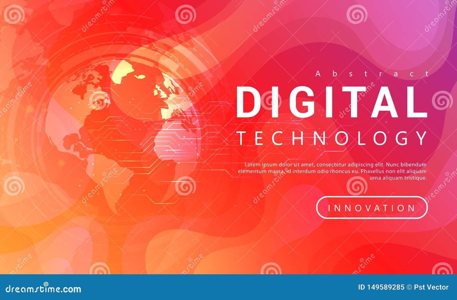 Digitaal van de technologiebanner rood oranje concept als achtergrond met wereld lichteffecten