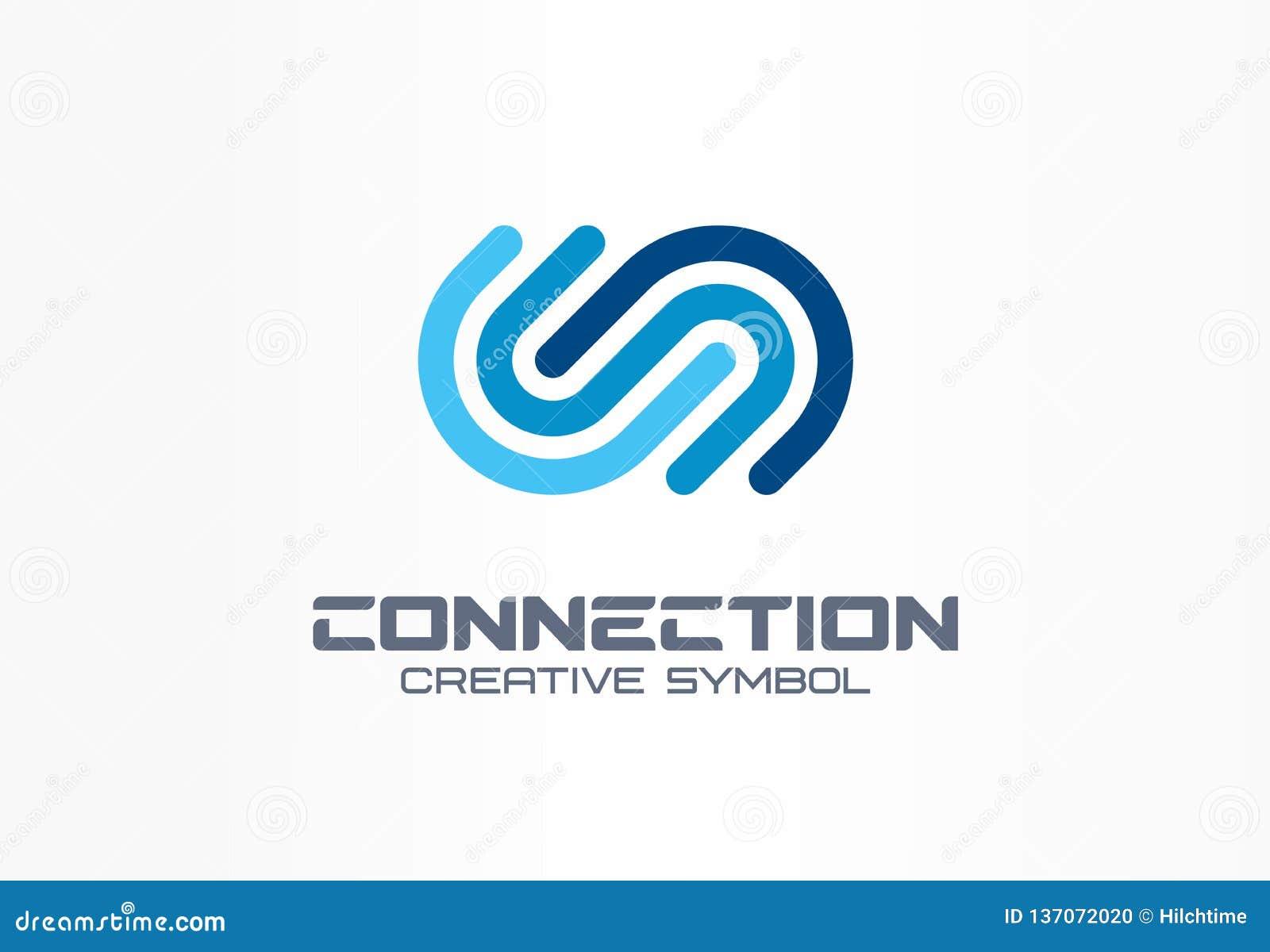 Digitaal verbind creatief symboolconcept De Gemeenschap treedt, integratie, van het bedrijfs Webnetwerk abstract embleem toe Inte
