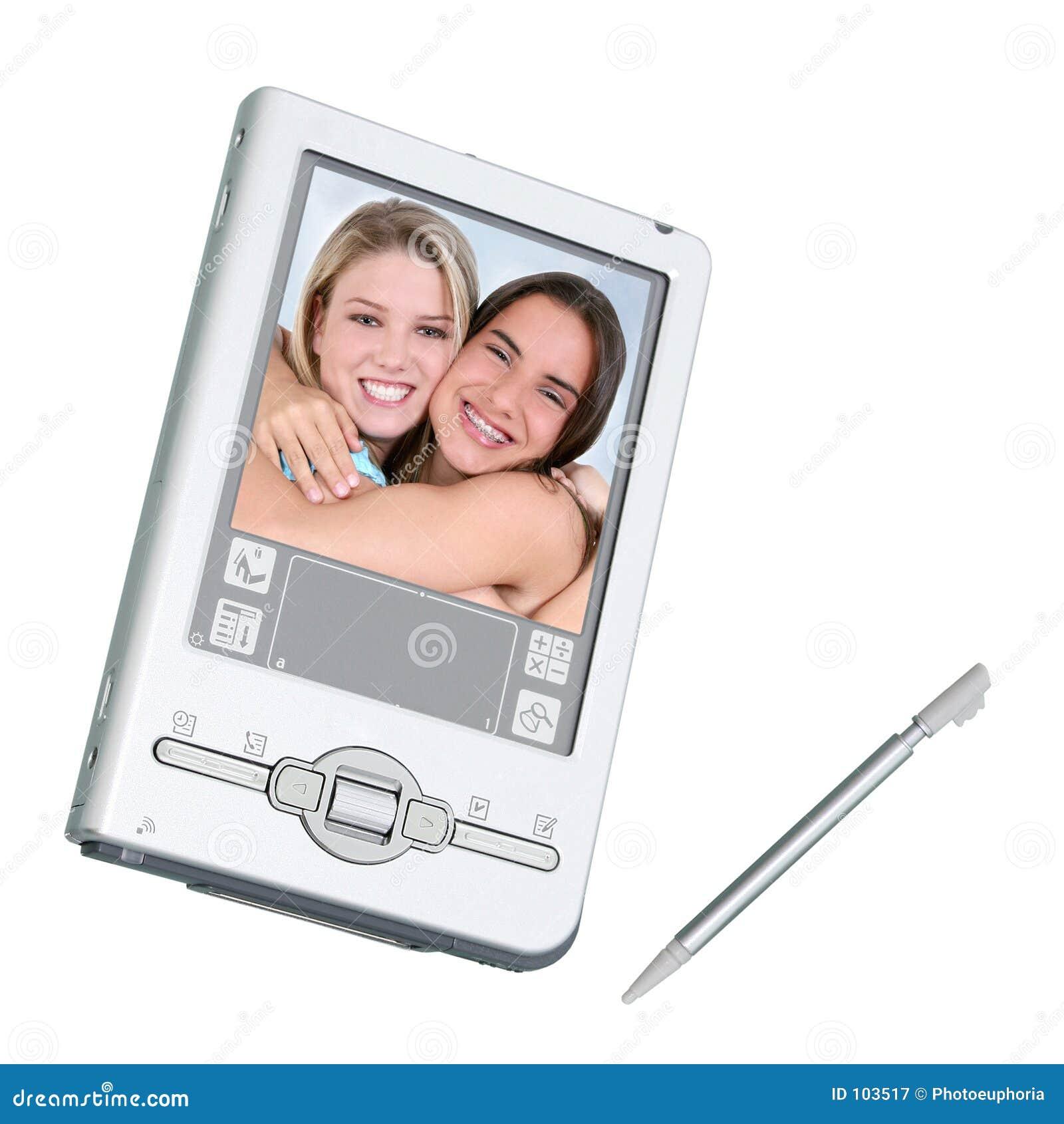 Digitaces PDA y aguja sobre blanco