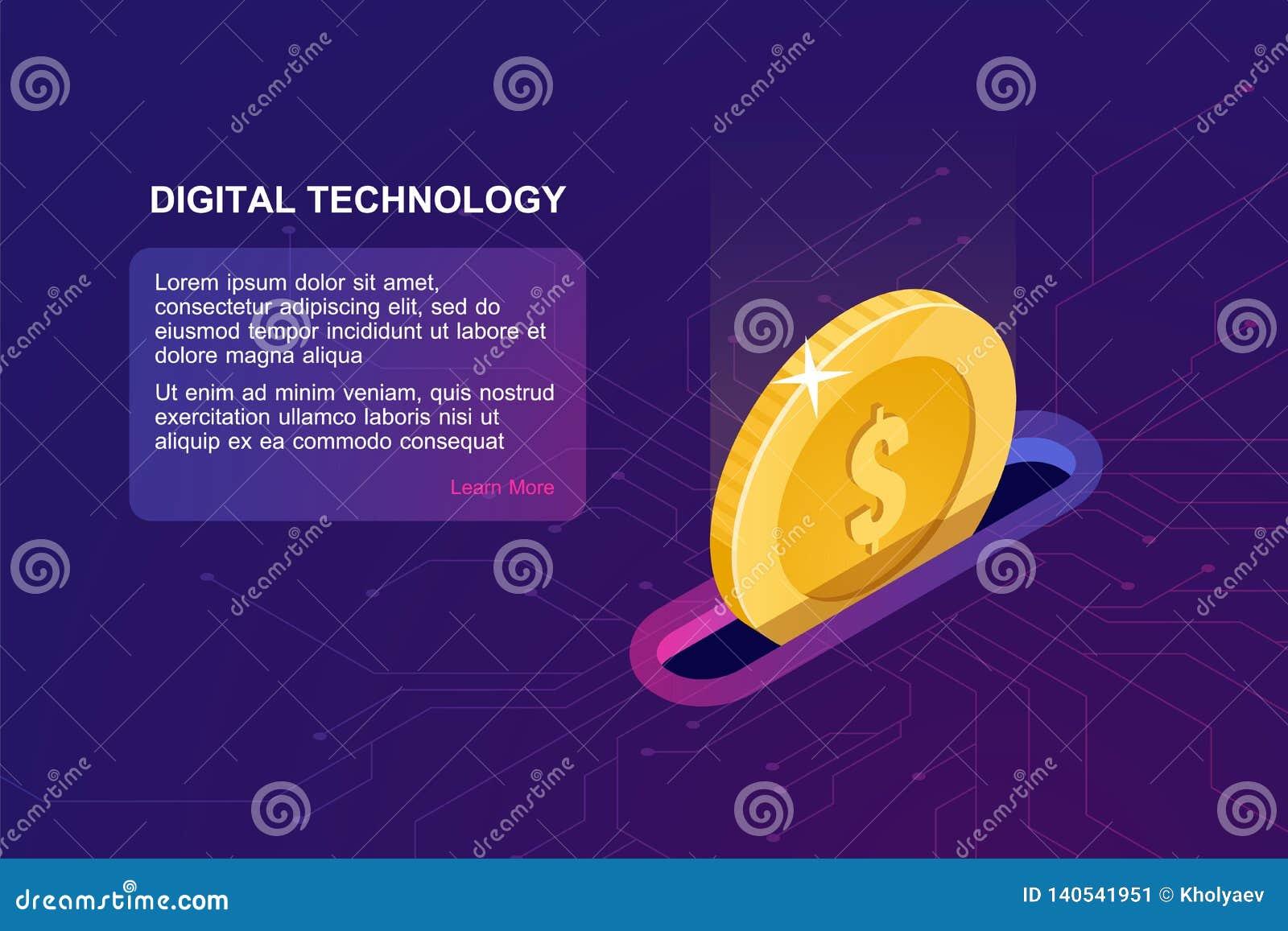 Digitaces que depositan el icono en línea, isométrico de la moneda que cae, monedero electrónico de Internet, servicio online de