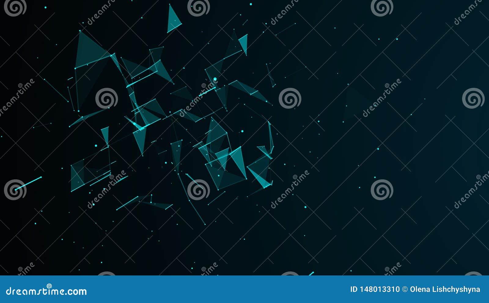 Digital abstrakt bakgrund Kosmiska partiklar Effekten av plexusen Stor datavisualization framf?rande 3d
